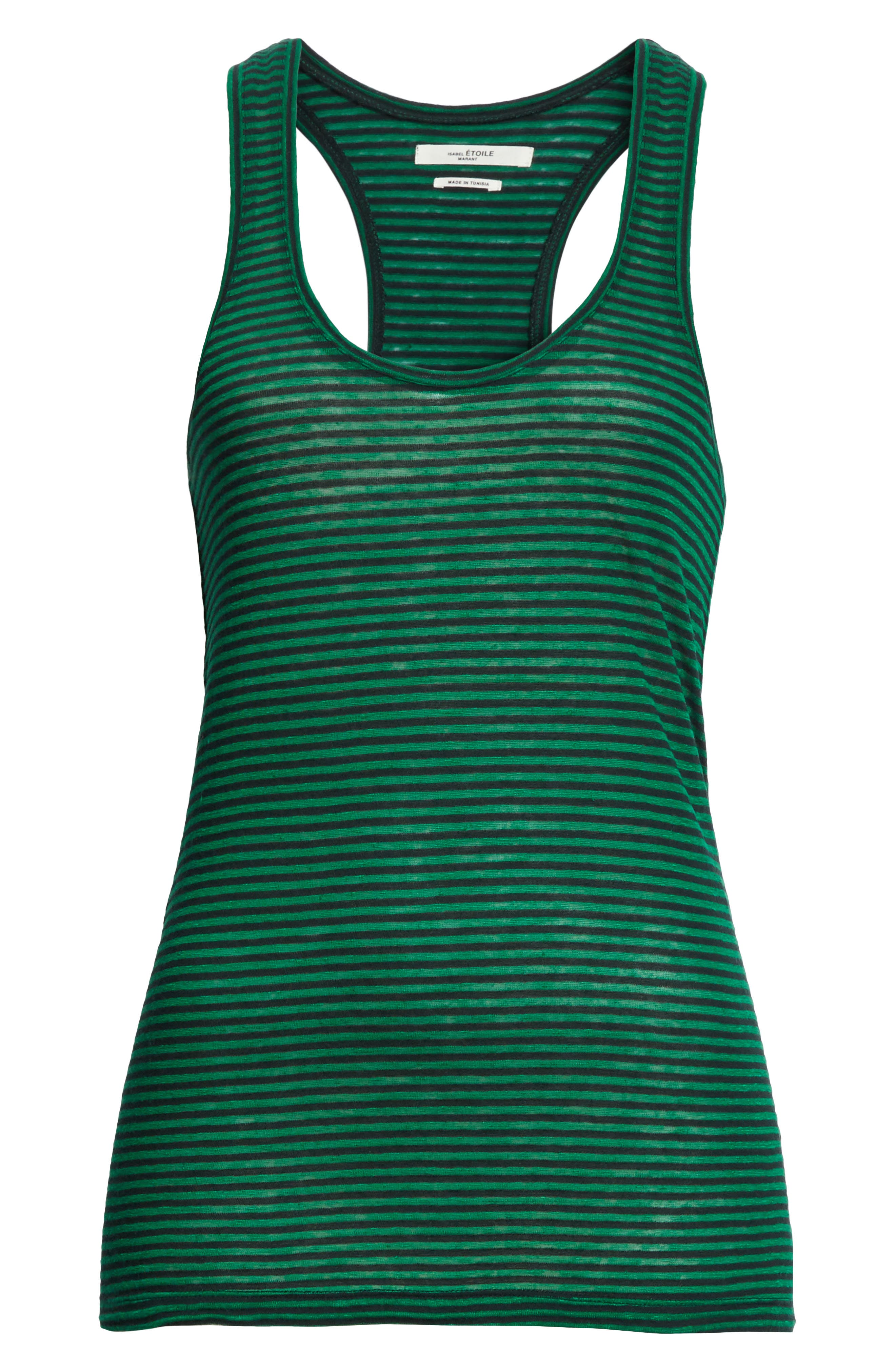 Isabel Marant Étoile Avien Stripe Cotton & Linen Tank,                             Alternate thumbnail 6, color,                             Green