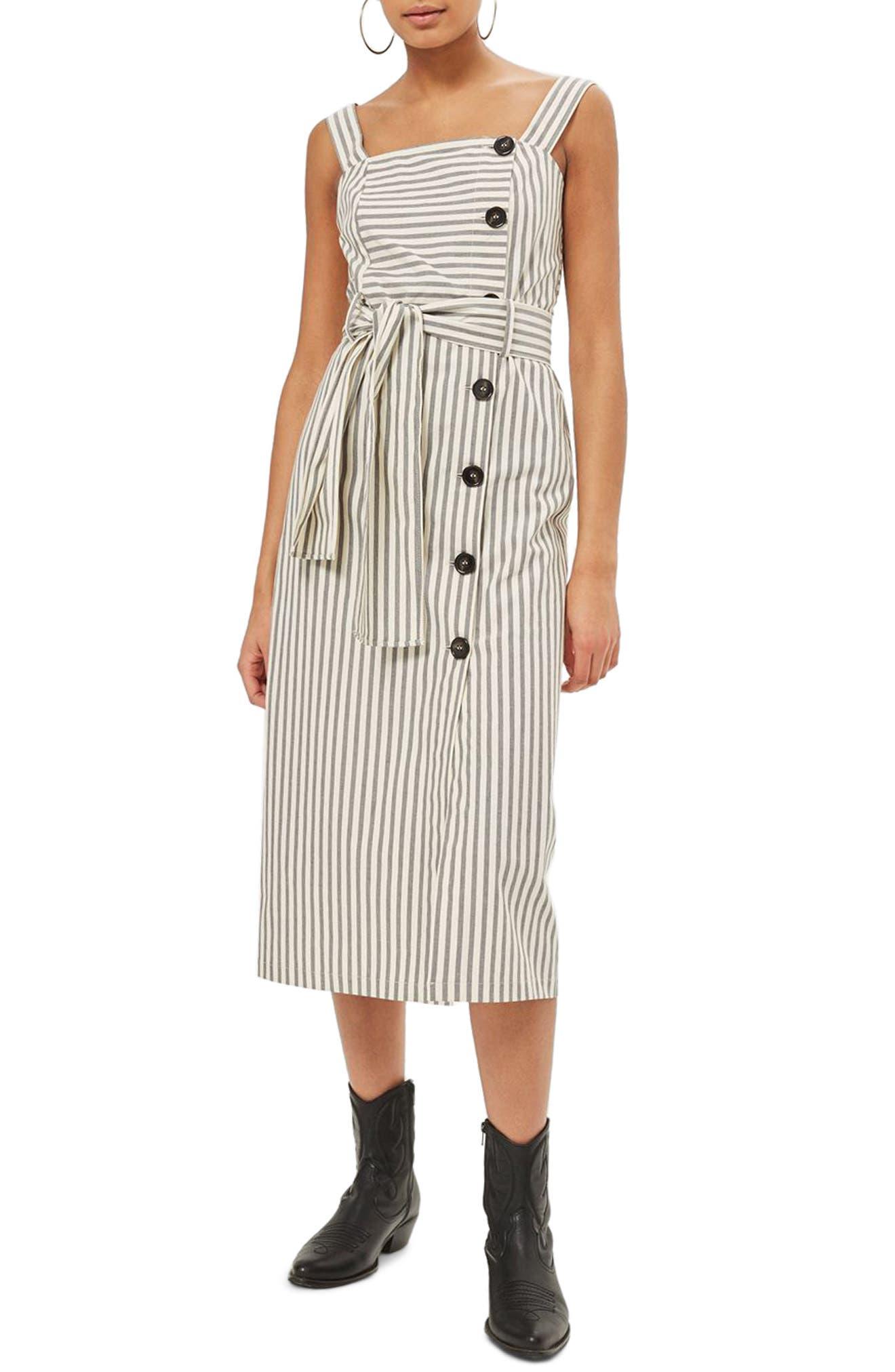 Topshop Stripe Midi Dress