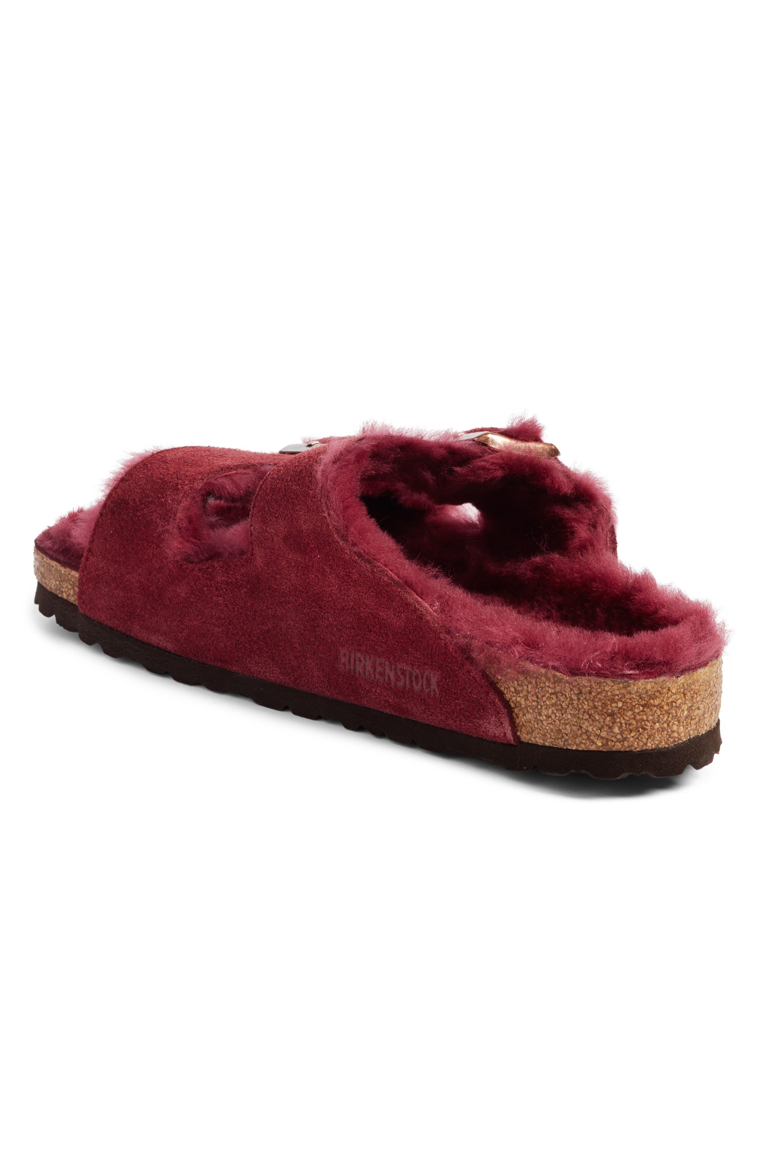Arizona Genuine Shearling Lined Slide Sandal,                             Alternate thumbnail 2, color,                             Bordeaux / Bordeaux