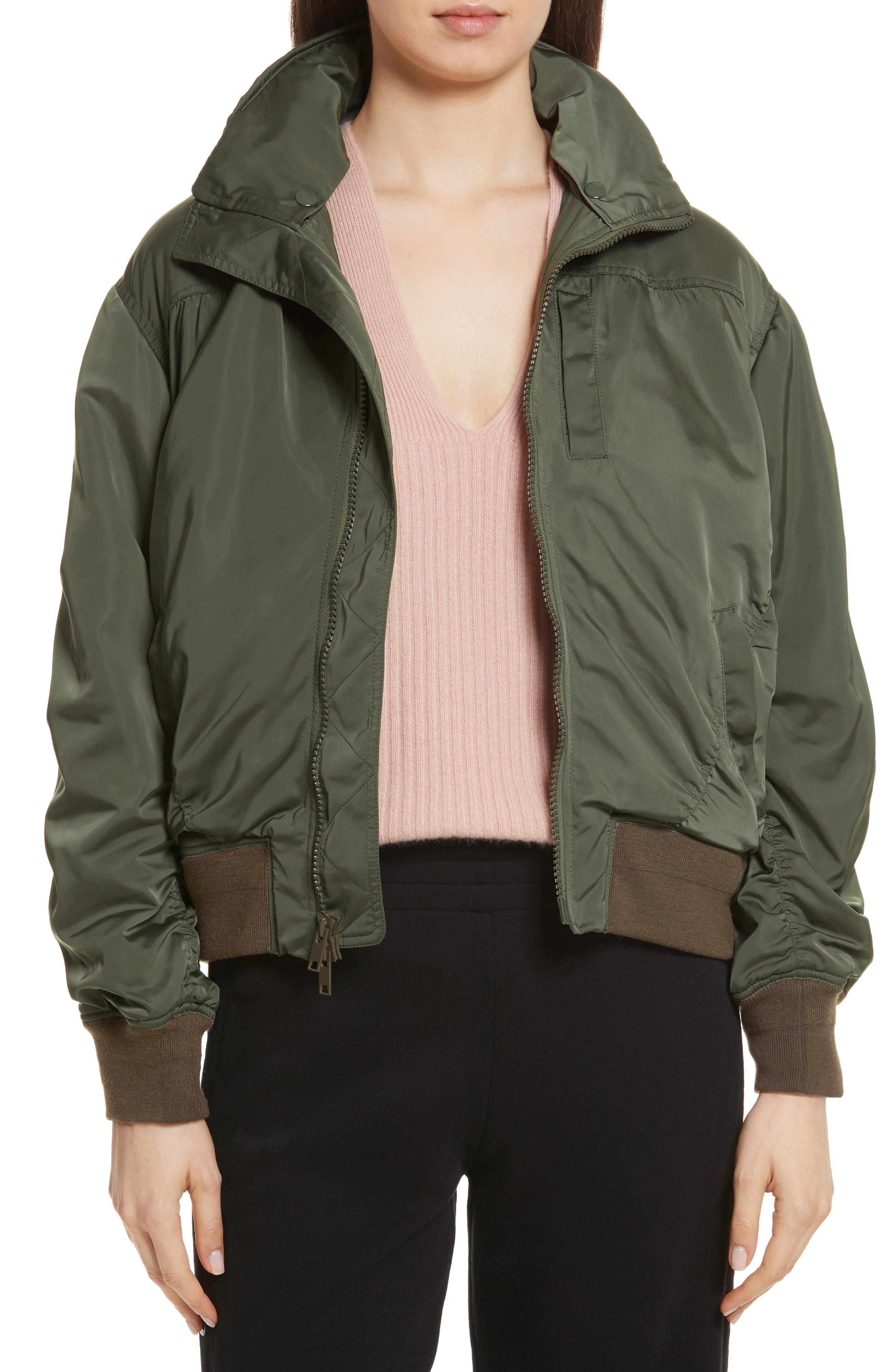 Hooded Bomber Jacket,                         Main,                         color, Green Mountain