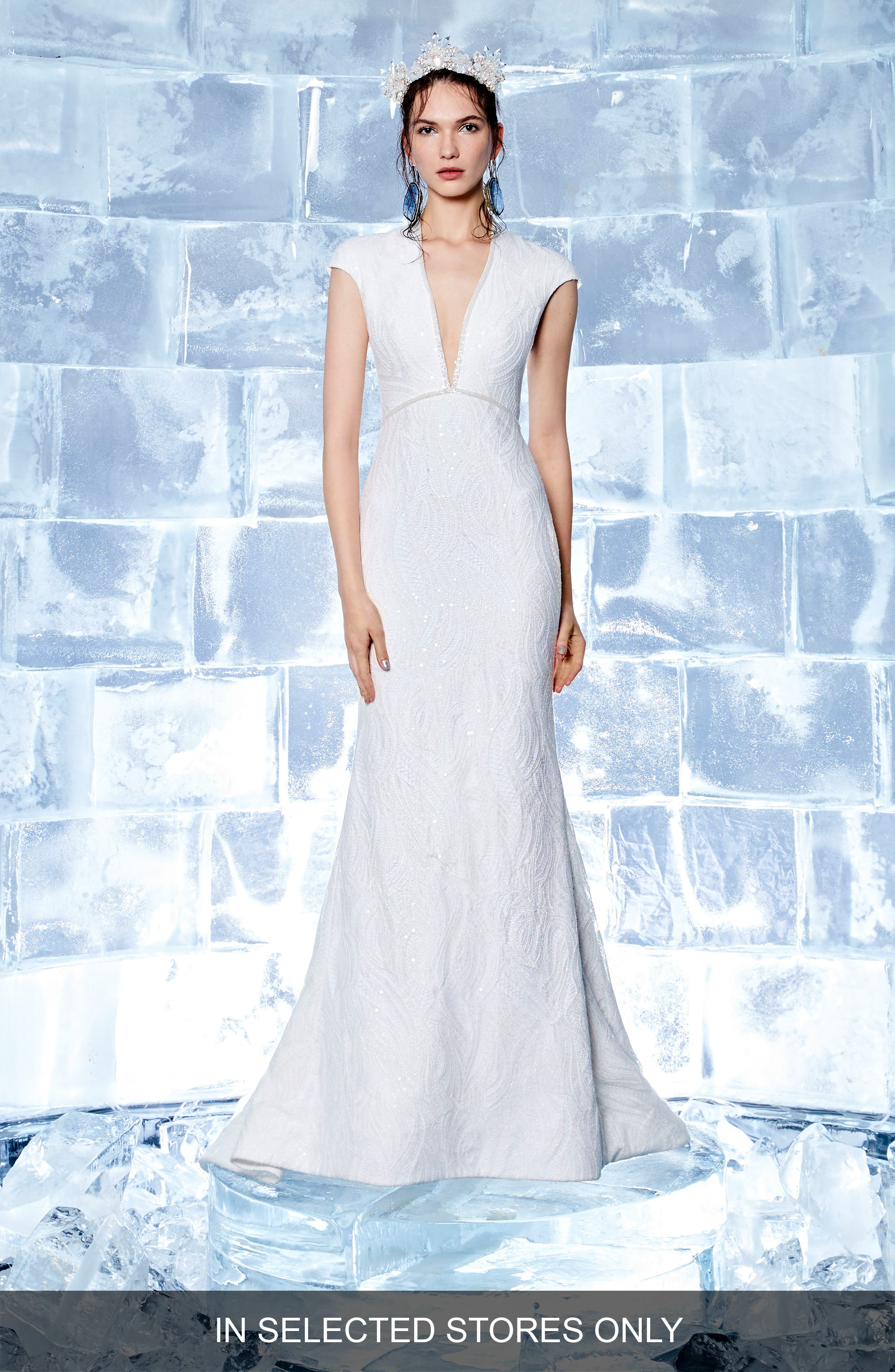 Eira Embellished Cap Sleeve Gown,                             Main thumbnail 1, color,                             Off White