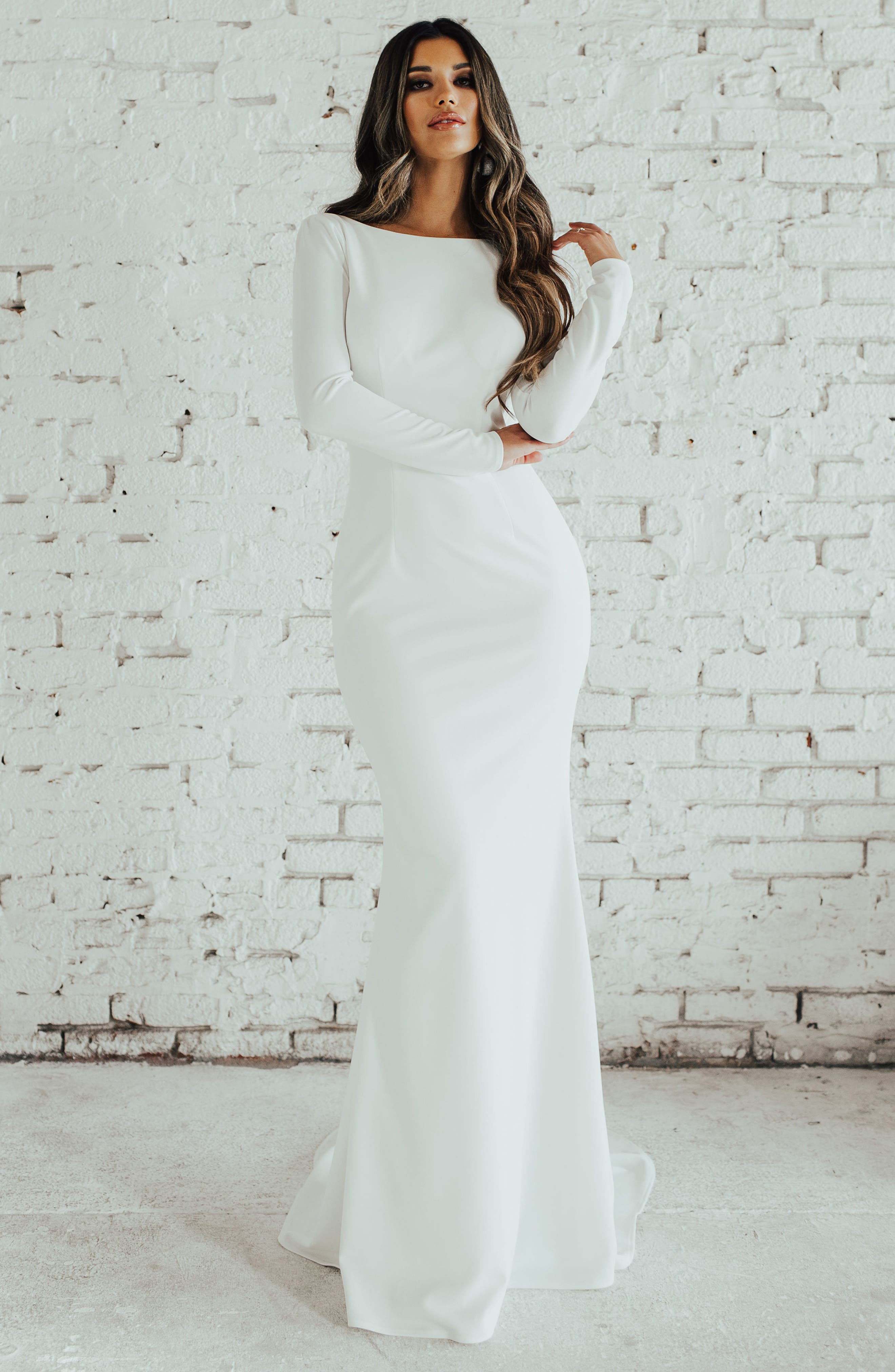 Cowl Back Crepe Gown,                             Alternate thumbnail 4, color,                             Ivory