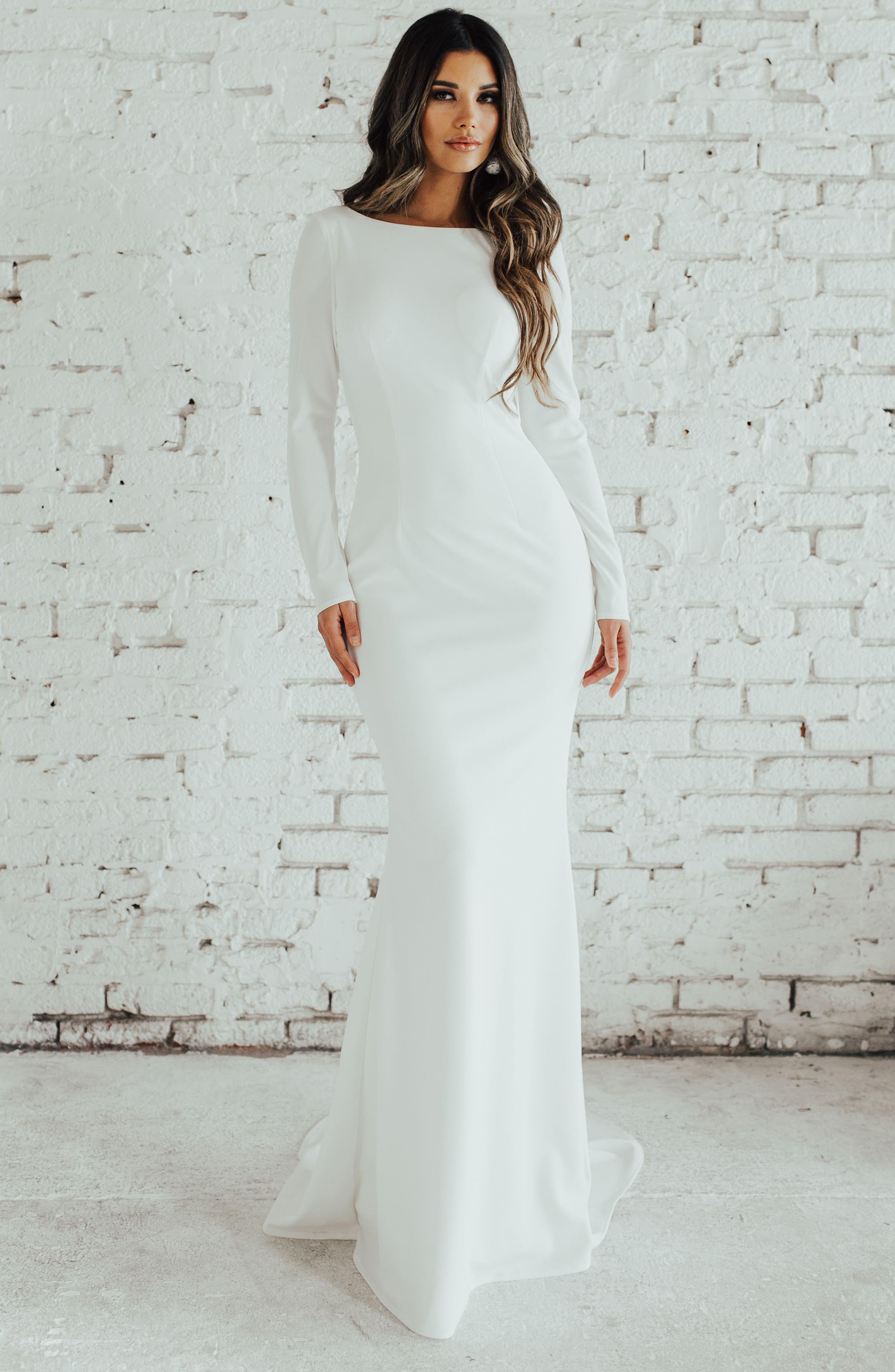 Cowl Back Crepe Gown,                             Alternate thumbnail 3, color,                             Ivory
