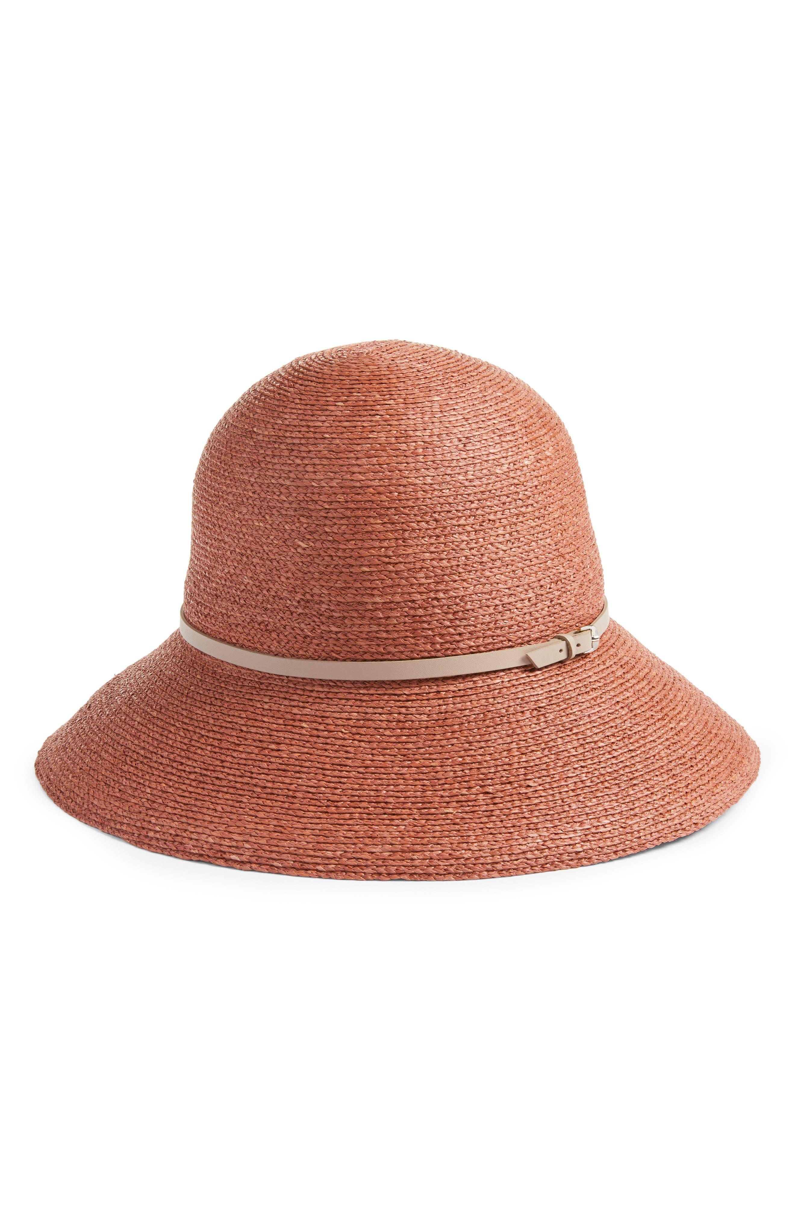 Packable Raffia Cloche Hat,                         Main,                         color, Auburn