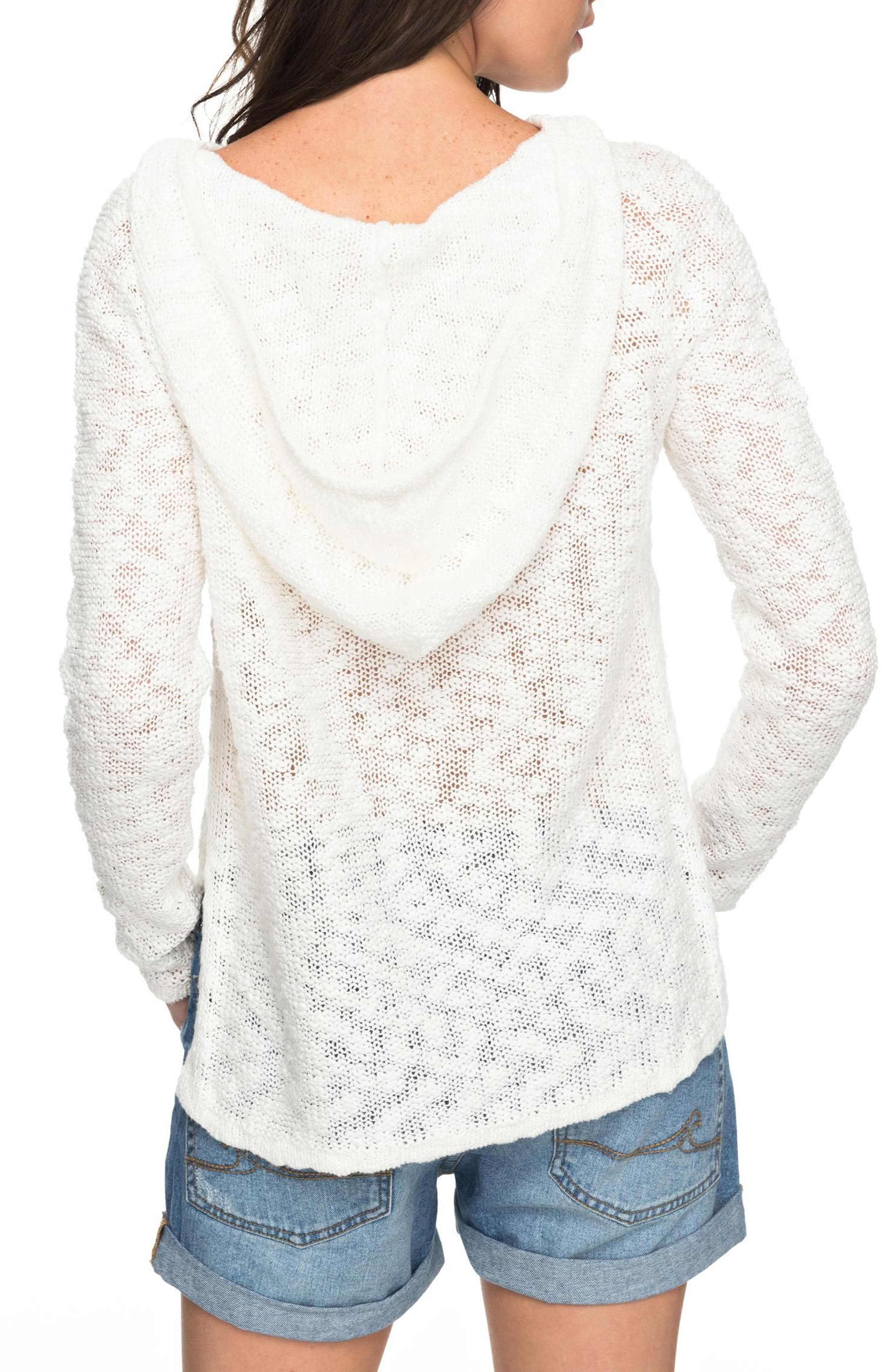 Slouchy Morning Cotton Knit Hoodie,                             Alternate thumbnail 3, color,                             Marshmallow