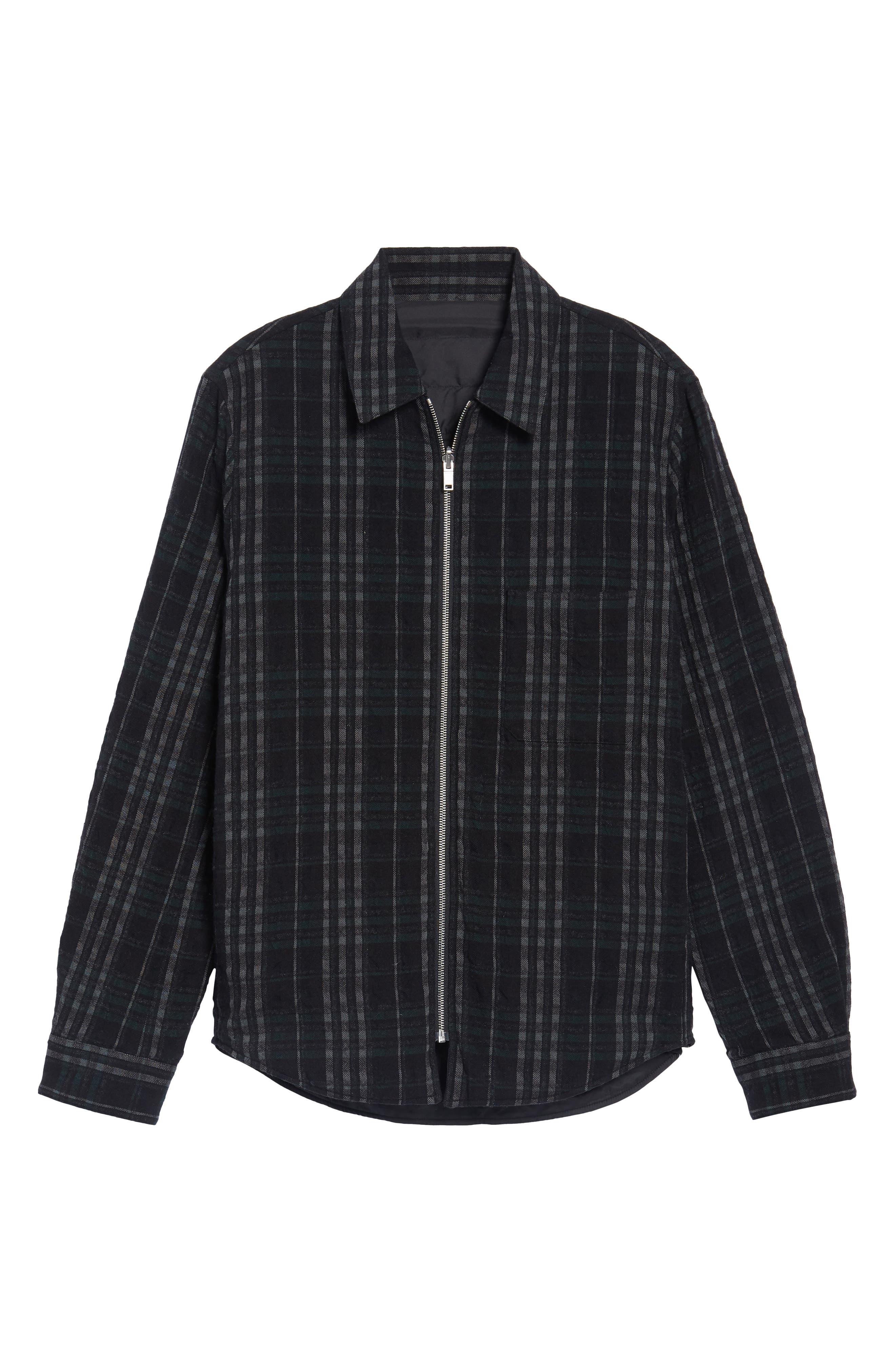 Wooly Reversible Zip Front Shirt Jacket,                             Alternate thumbnail 6, color,                             Black Multi