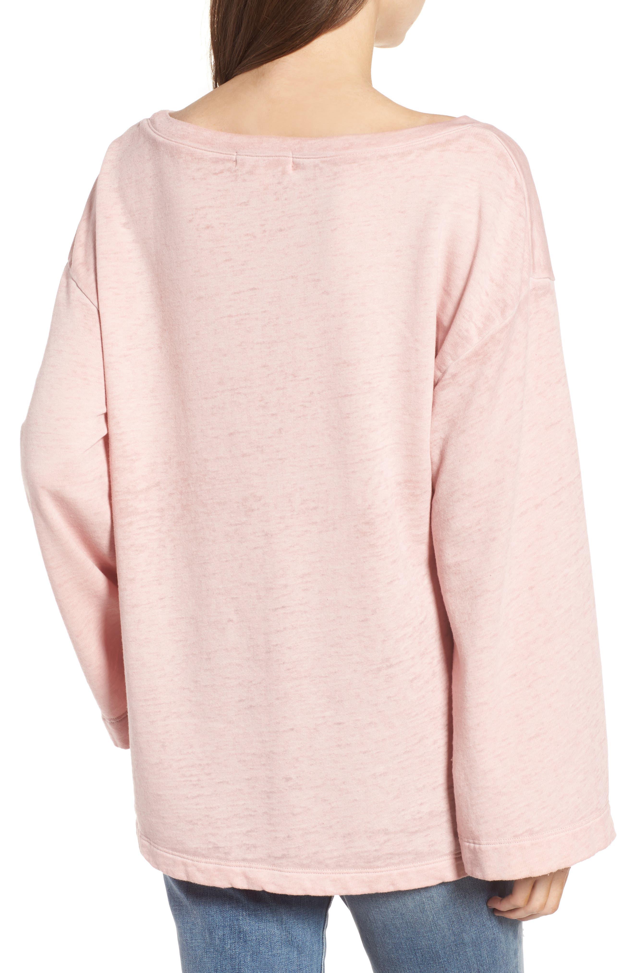 Bell Sleeve Sweatshirt,                             Alternate thumbnail 2, color,                             Pink Silver
