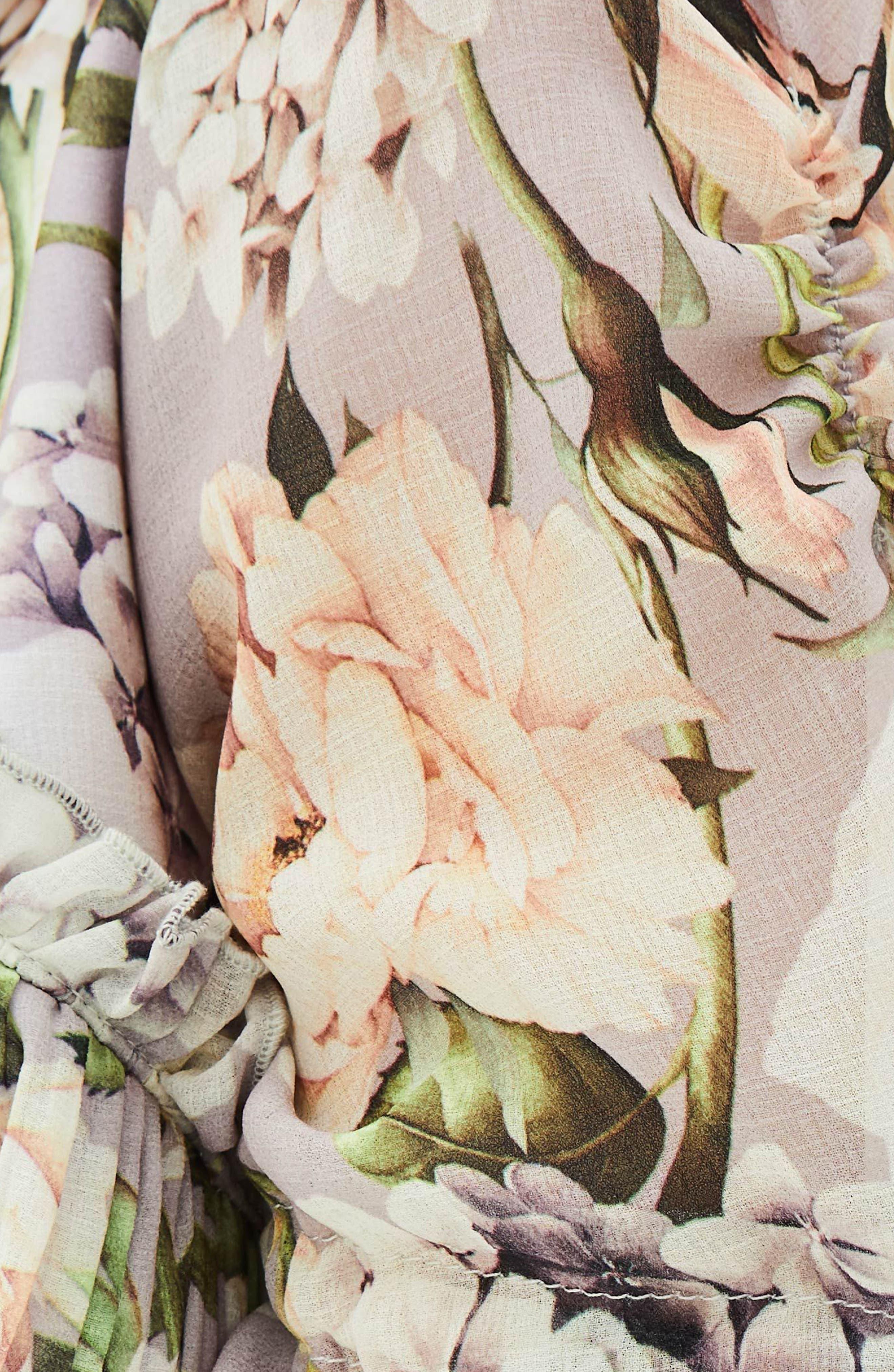 The Sweet Pea Floral Midi Dress,                             Alternate thumbnail 4, color,                             Purple