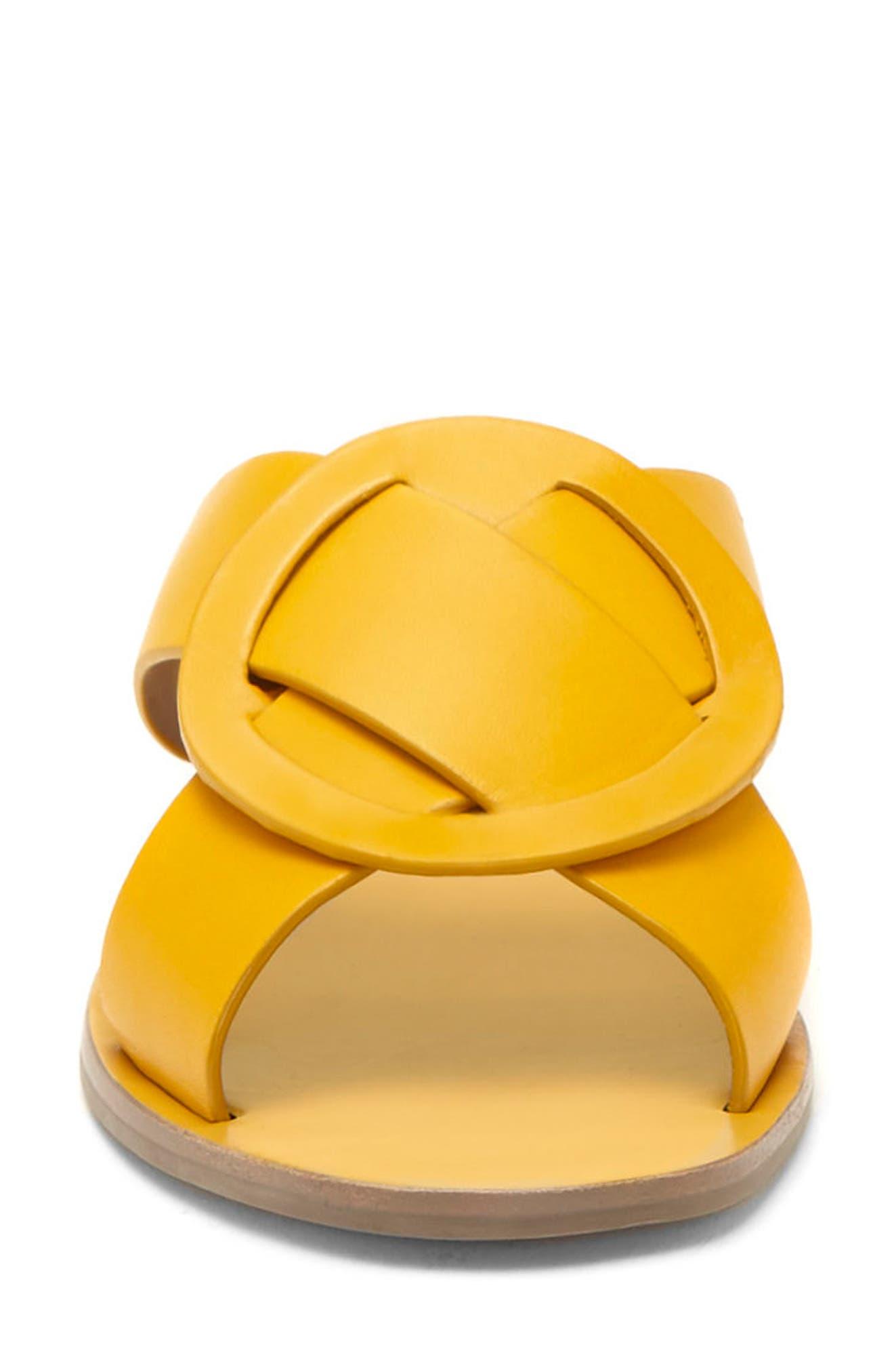 Carlein Slide Sandal,                             Alternate thumbnail 3, color,                             Mustard Leather