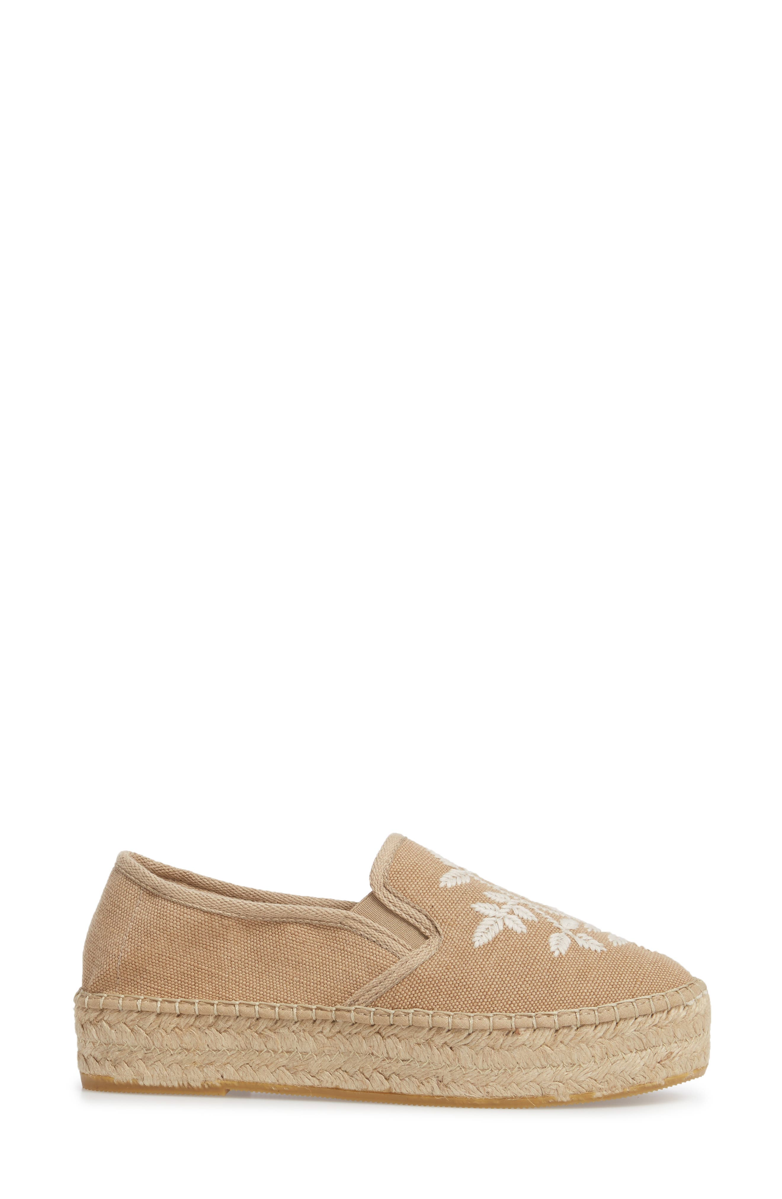 Florence Embroidered Platform Espadrille Sneaker,                             Alternate thumbnail 3, color,                             Tobacco Fabric