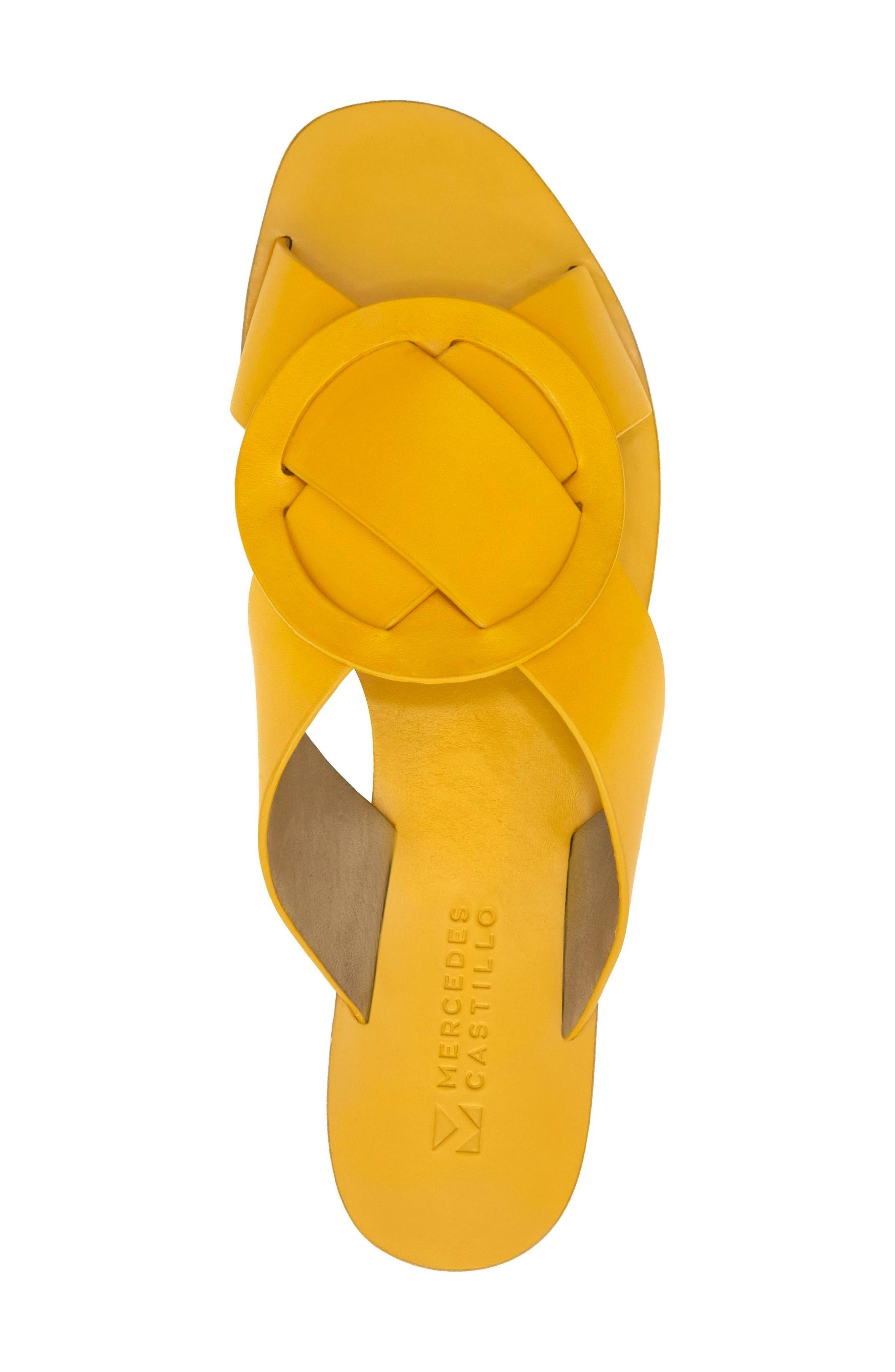 Carlein Slide Sandal,                             Alternate thumbnail 4, color,                             Mustard Leather