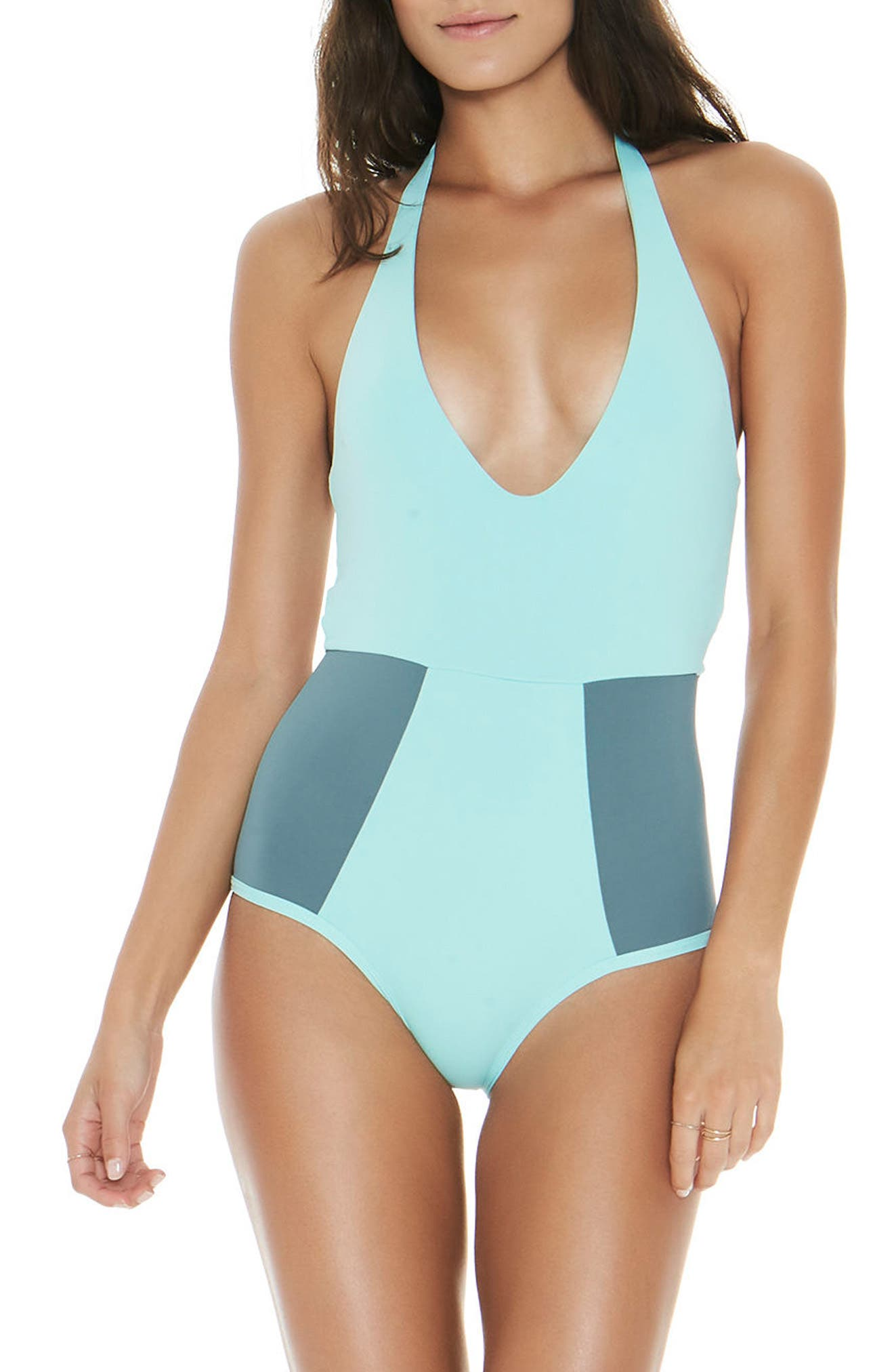 Fireside Halter One-Piece Swimsuit,                         Main,                         color, Light Turquoise