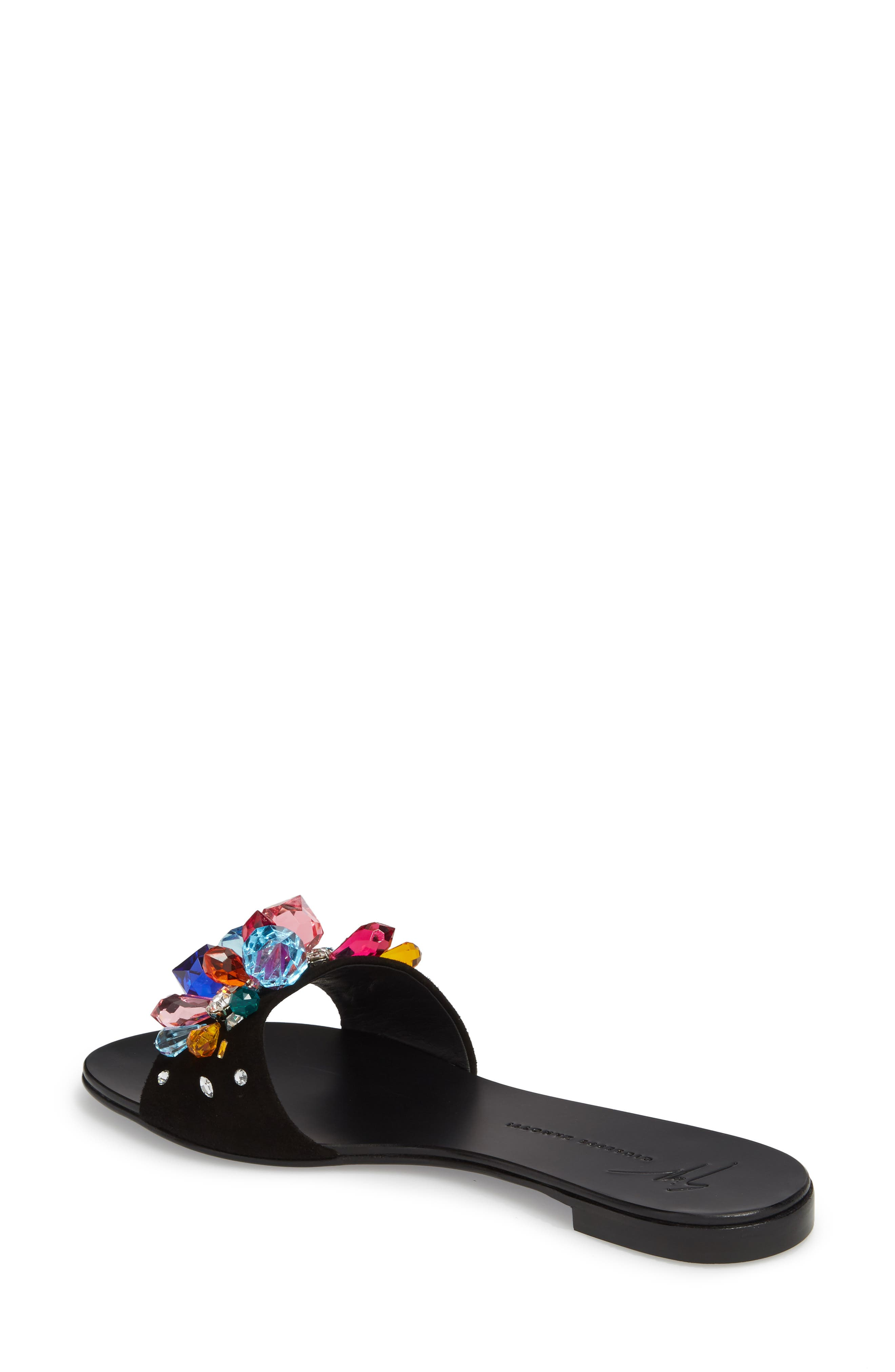 Embellished Slide Sandal,                             Alternate thumbnail 2, color,                             Black