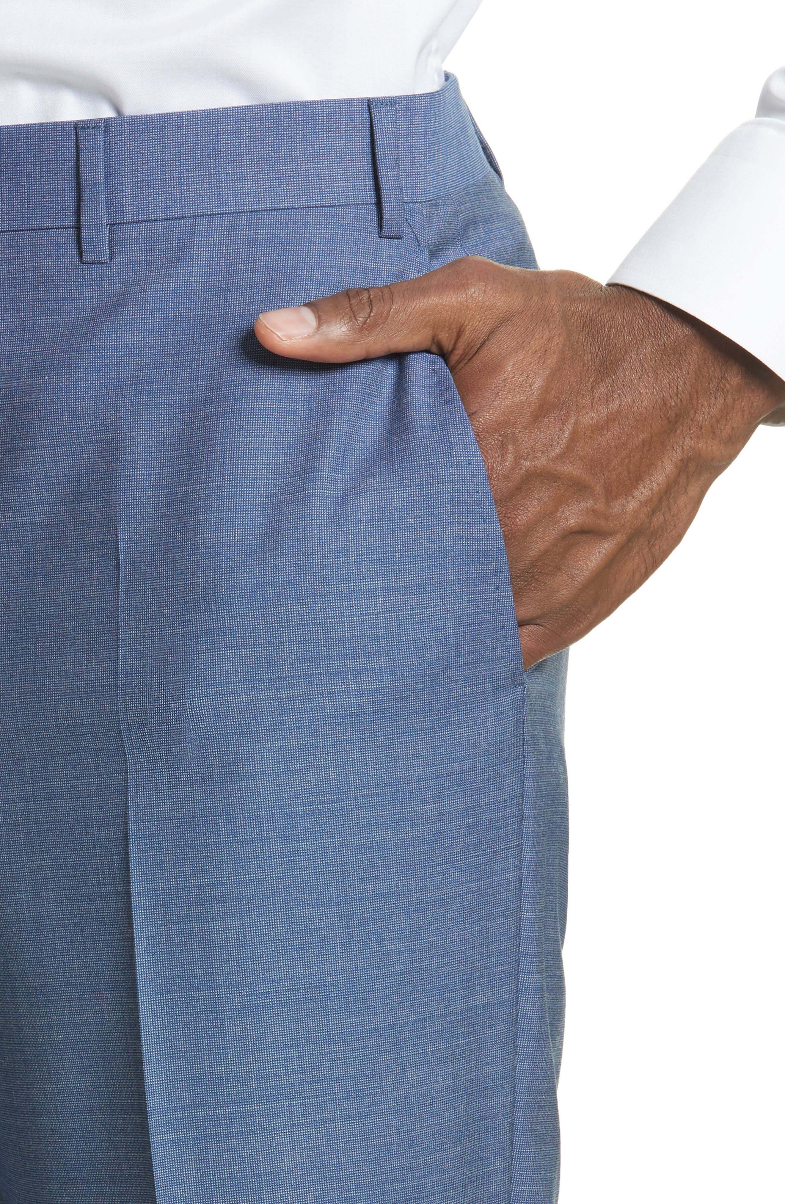 Alternate Image 4  - Canali Flat Front Solid Wool Trousers