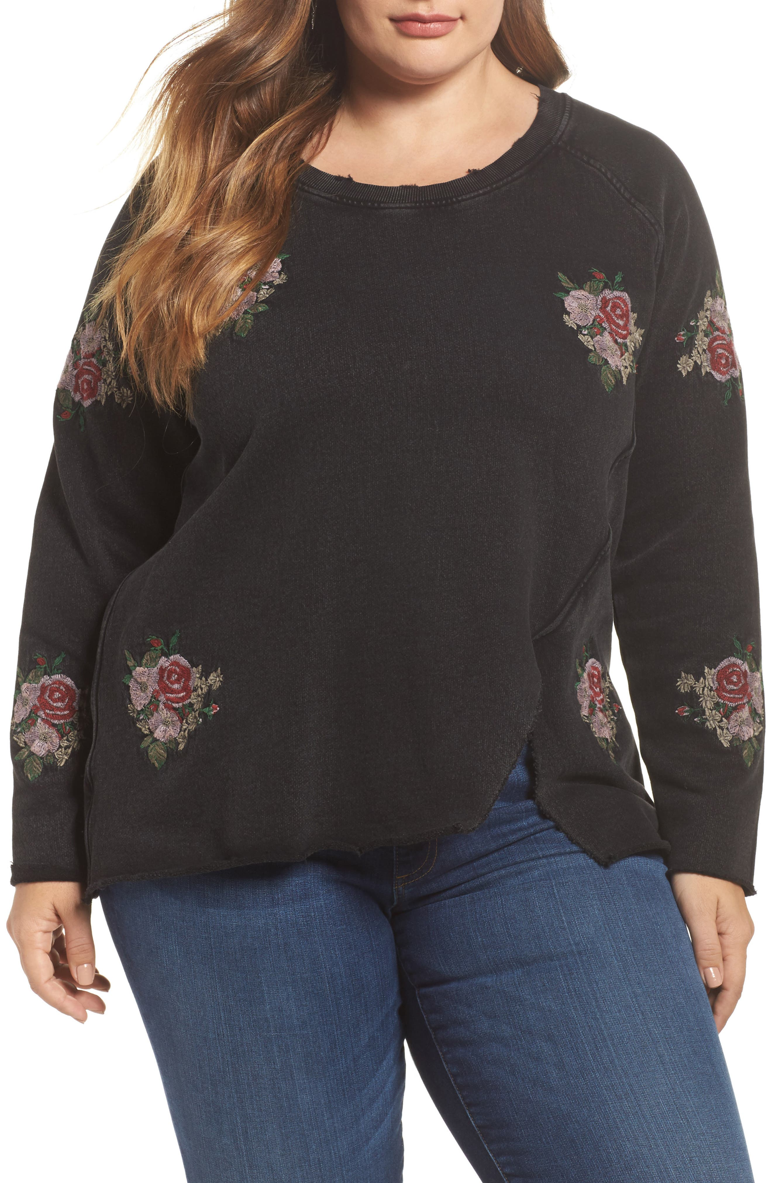 Main Image - Lucky Brand Embroidered Distressed Sweatshirt (Plus Size)