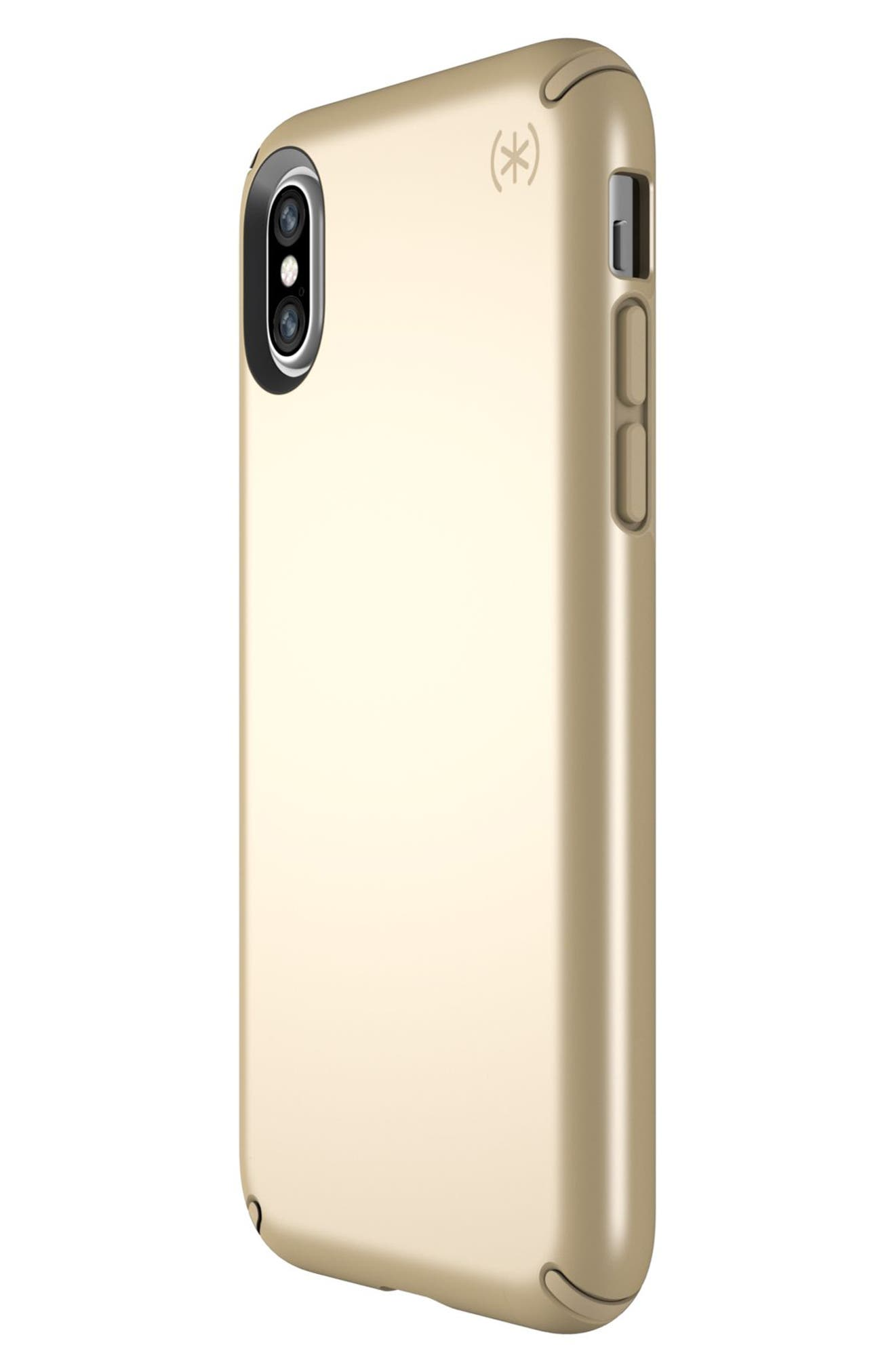 iPhone X Case,                             Alternate thumbnail 3, color,                             Pale Yellow Gold/ Brown