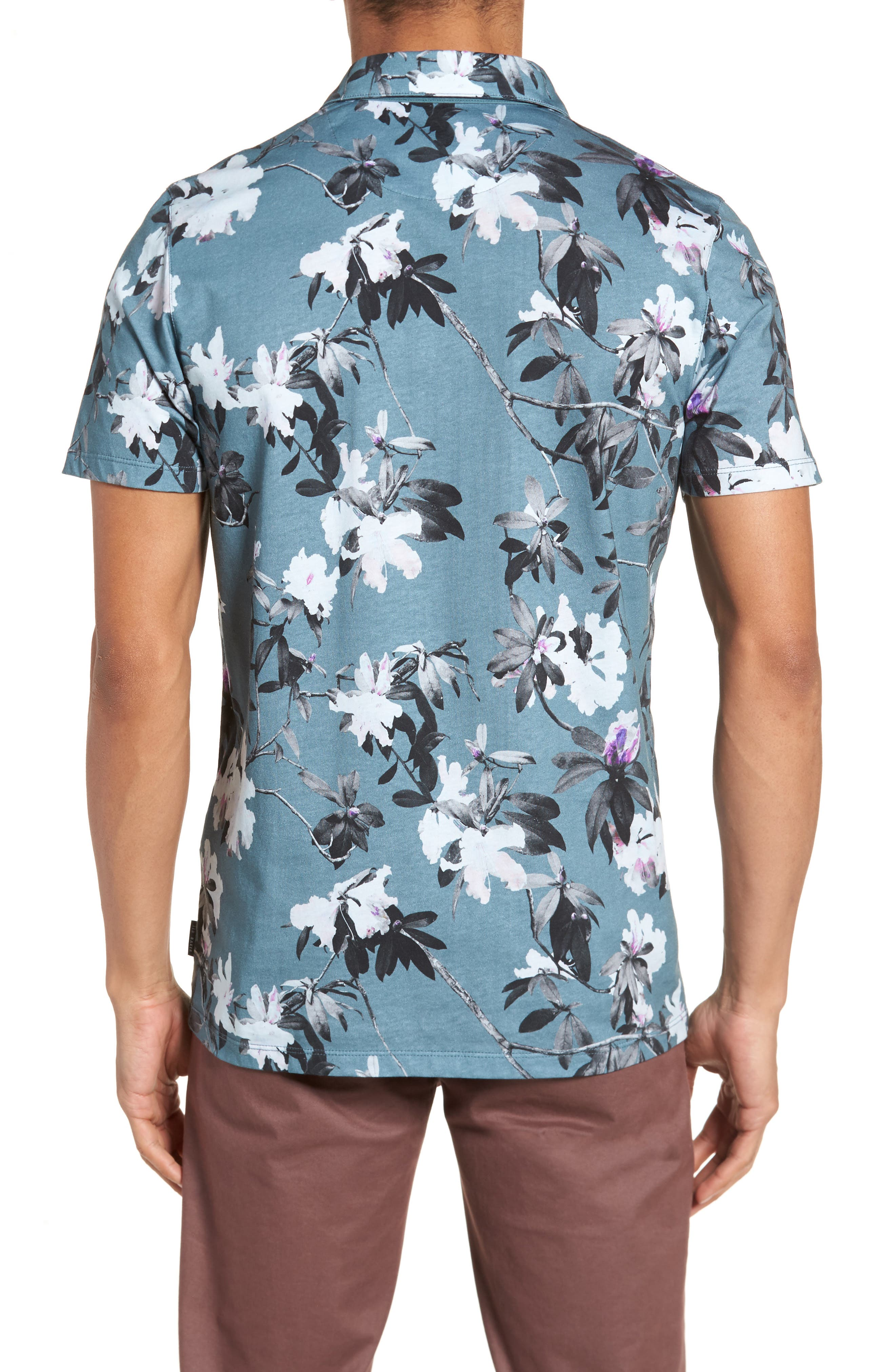 Scruff Trim Fit Floral Print Polo,                             Alternate thumbnail 2, color,                             Teal