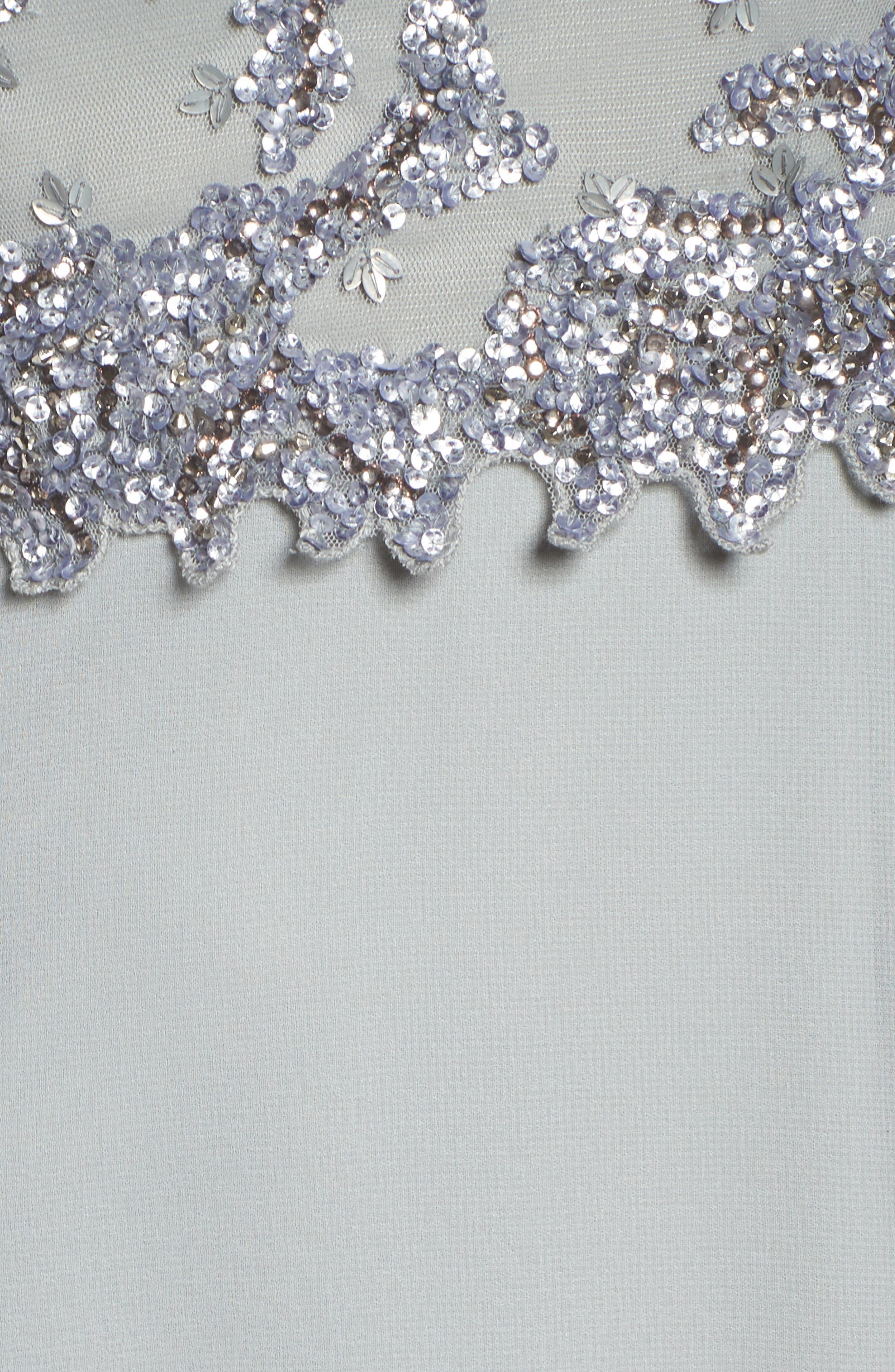 Embellished Mesh Bodice Gown,                             Alternate thumbnail 5, color,                             Blue Mist