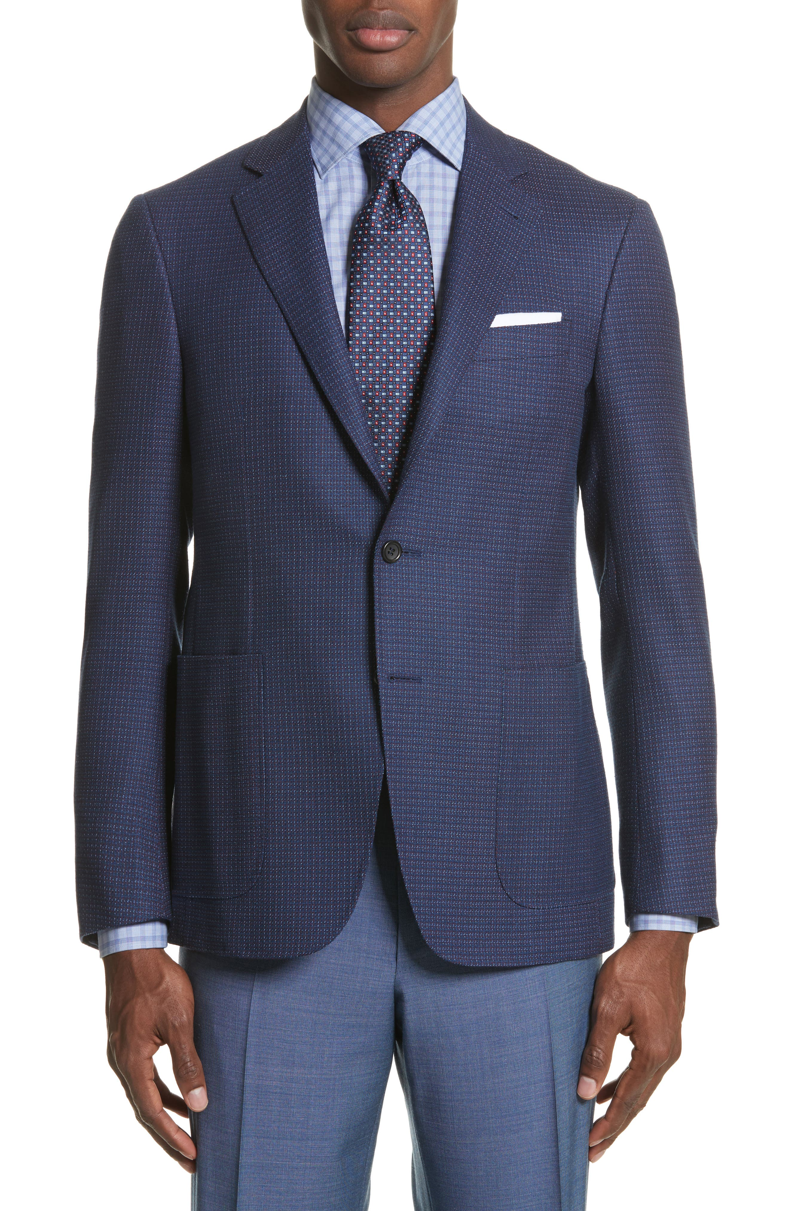 Classic Fit Check Wool Sport Coat,                             Main thumbnail 1, color,                             Blue
