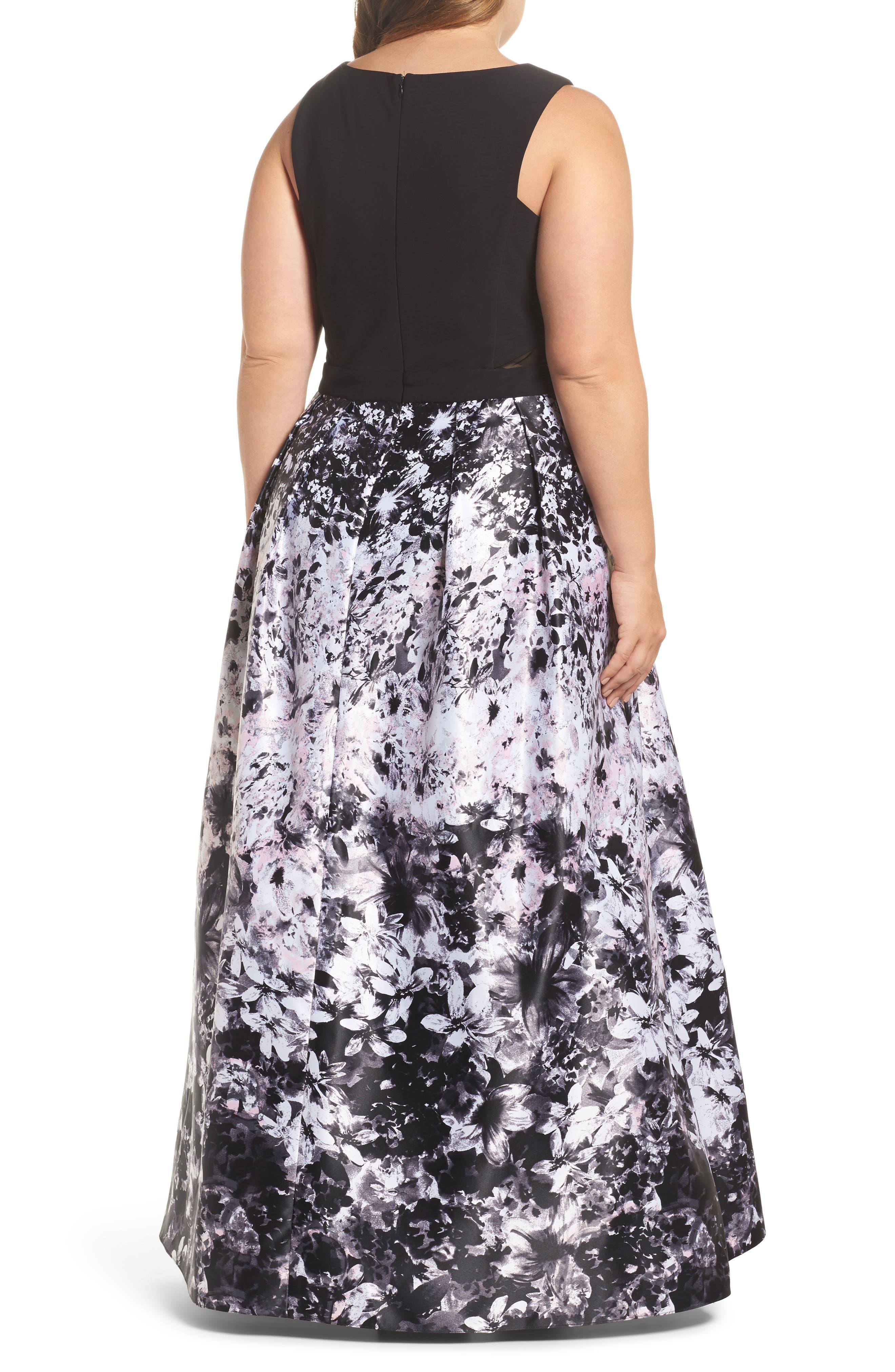 Floral Print Ballgown,                             Alternate thumbnail 2, color,                             Black/ Pink