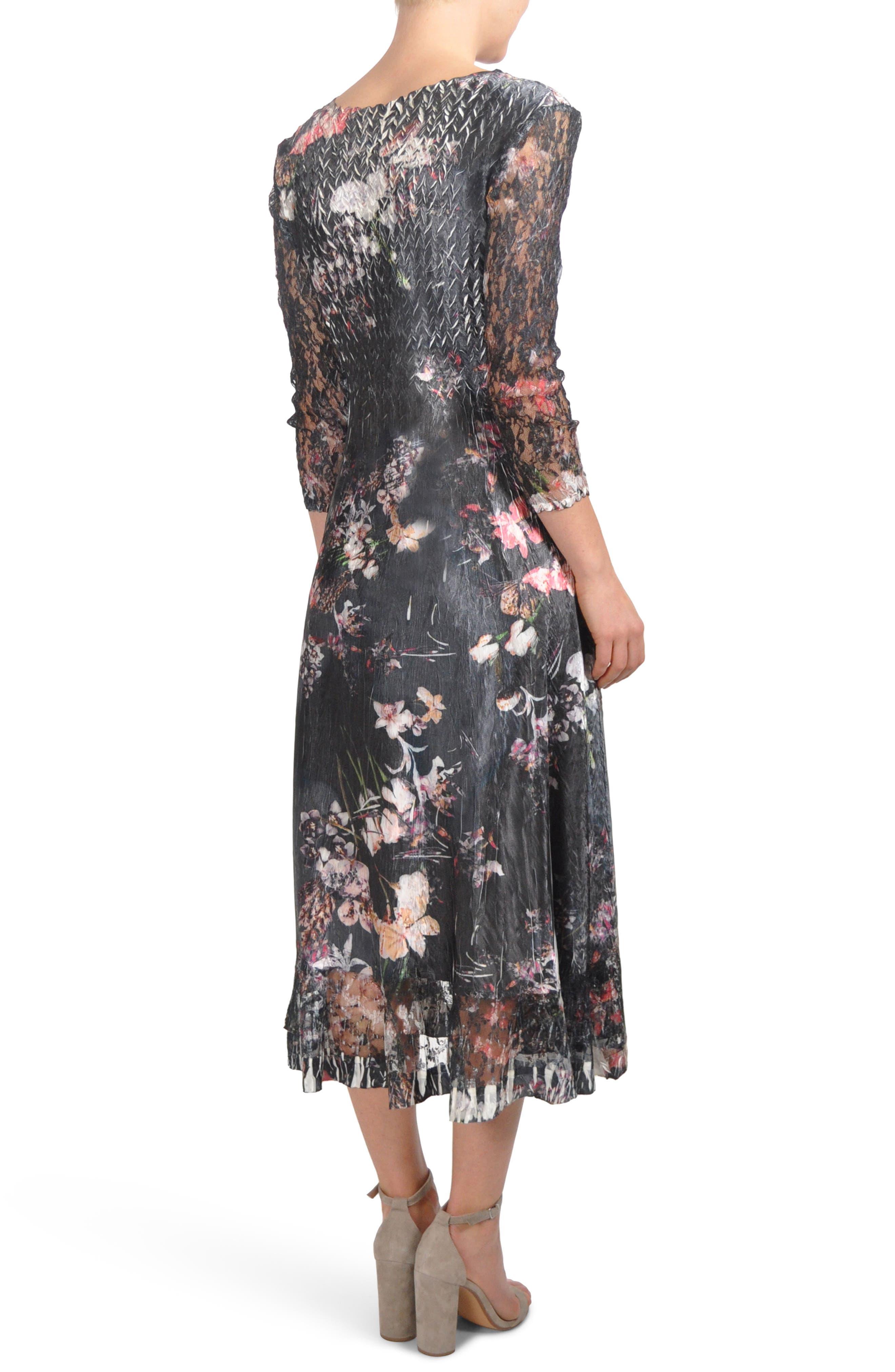 Floral A-Line Midi Dress,                             Alternate thumbnail 2, color,                             Midnight Fleur