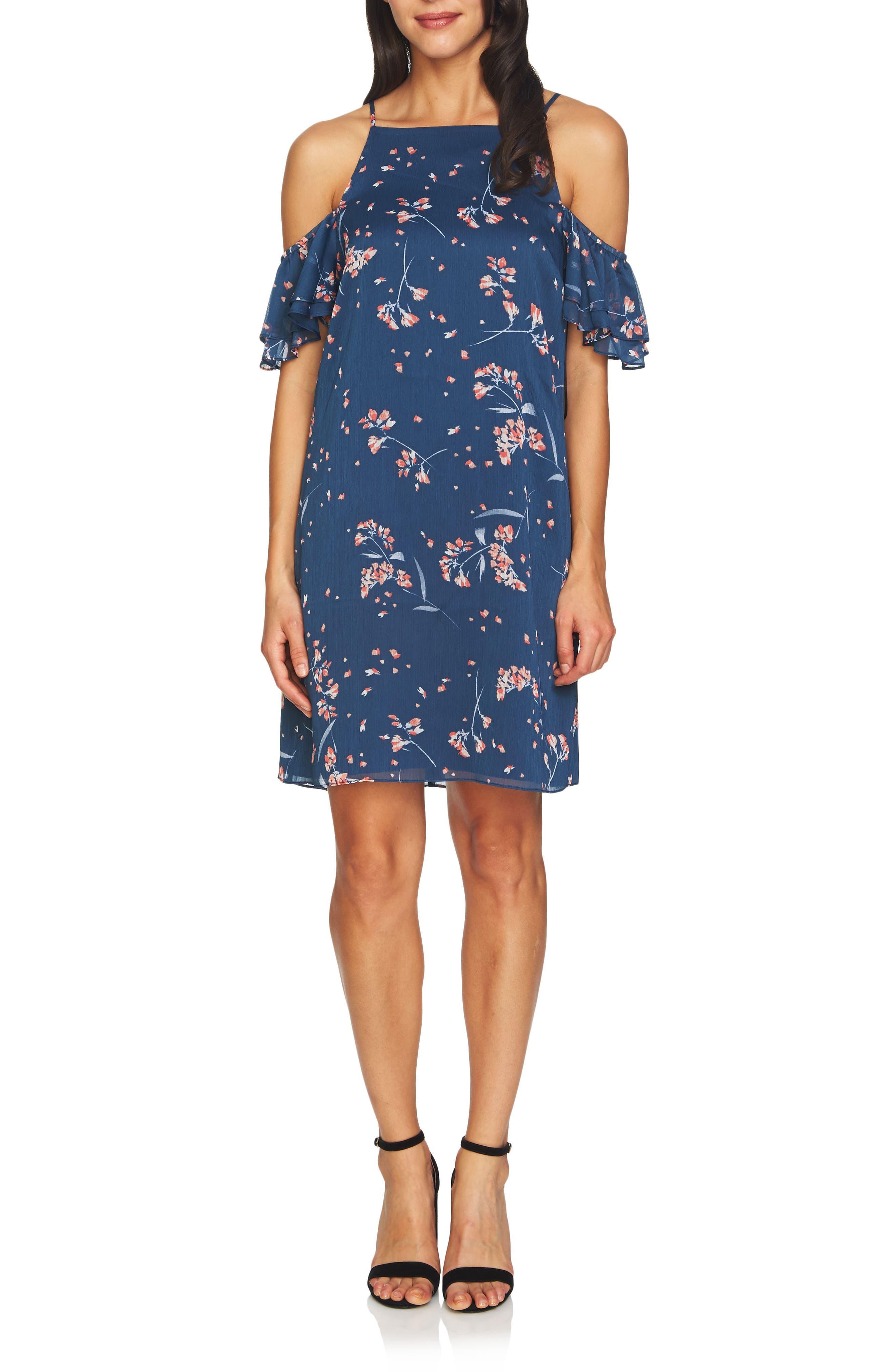 Nika Cold Shoulder Shift Dress,                             Main thumbnail 1, color,                             Indigo Sky