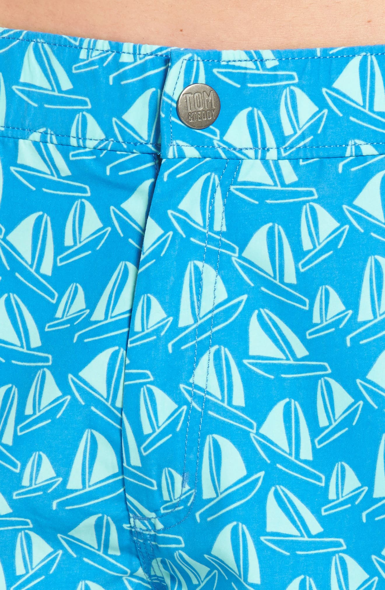 Boat Print Swim Trunks,                             Alternate thumbnail 4, color,                             French Blue And Sky