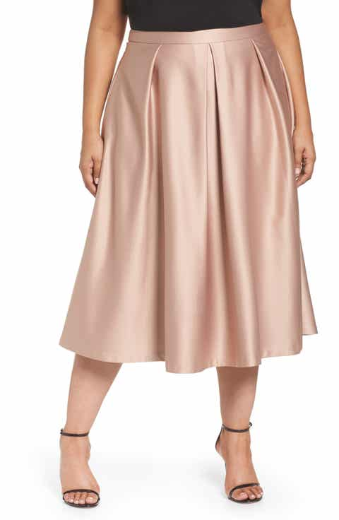 City Chic Pucker Up Pleated Satin Midi Skirt (Plus Size) Best Price