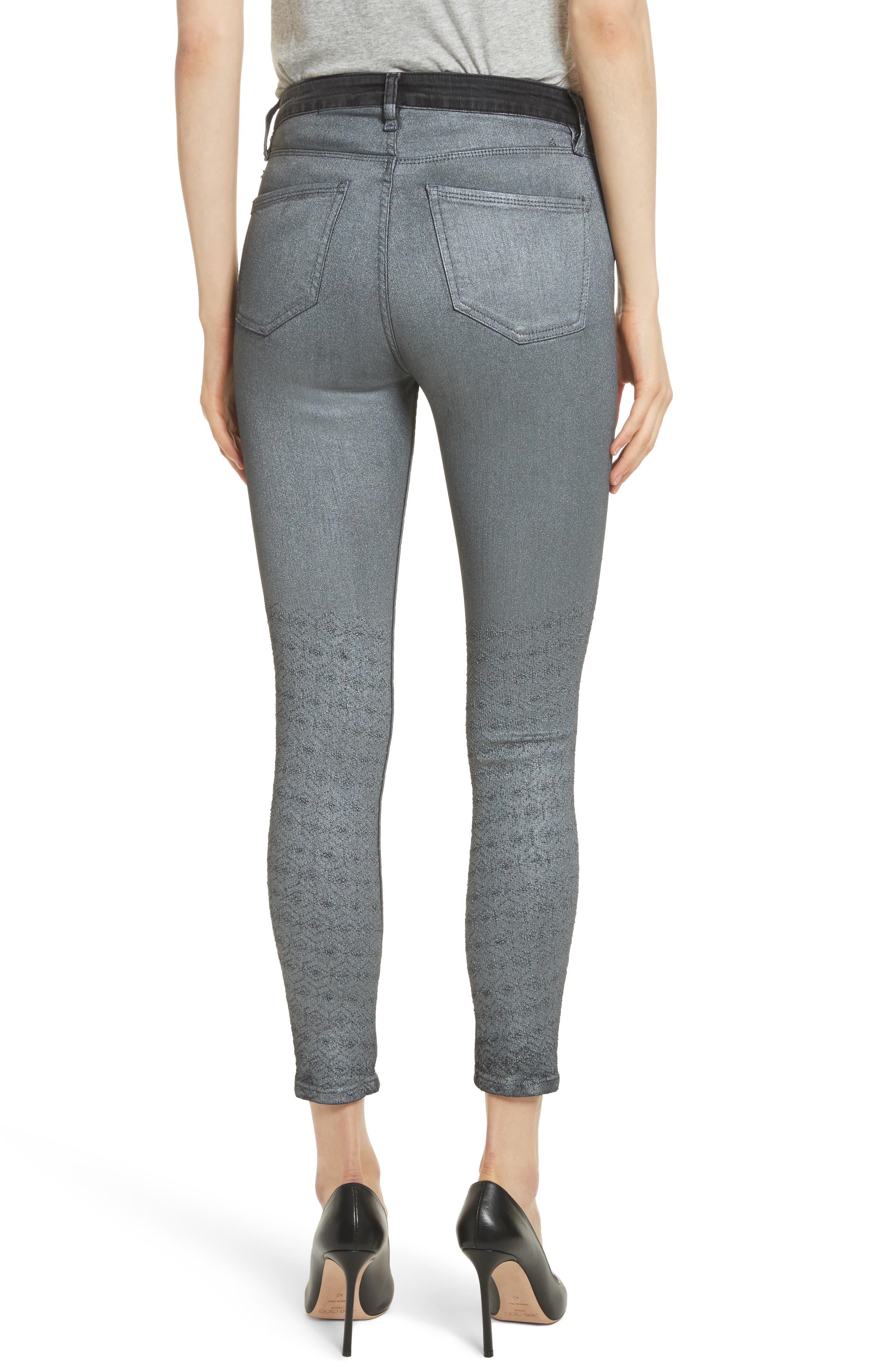 Reina Glitter Skinny Jeans,                             Alternate thumbnail 2, color,                             Black Used Glitter Silver