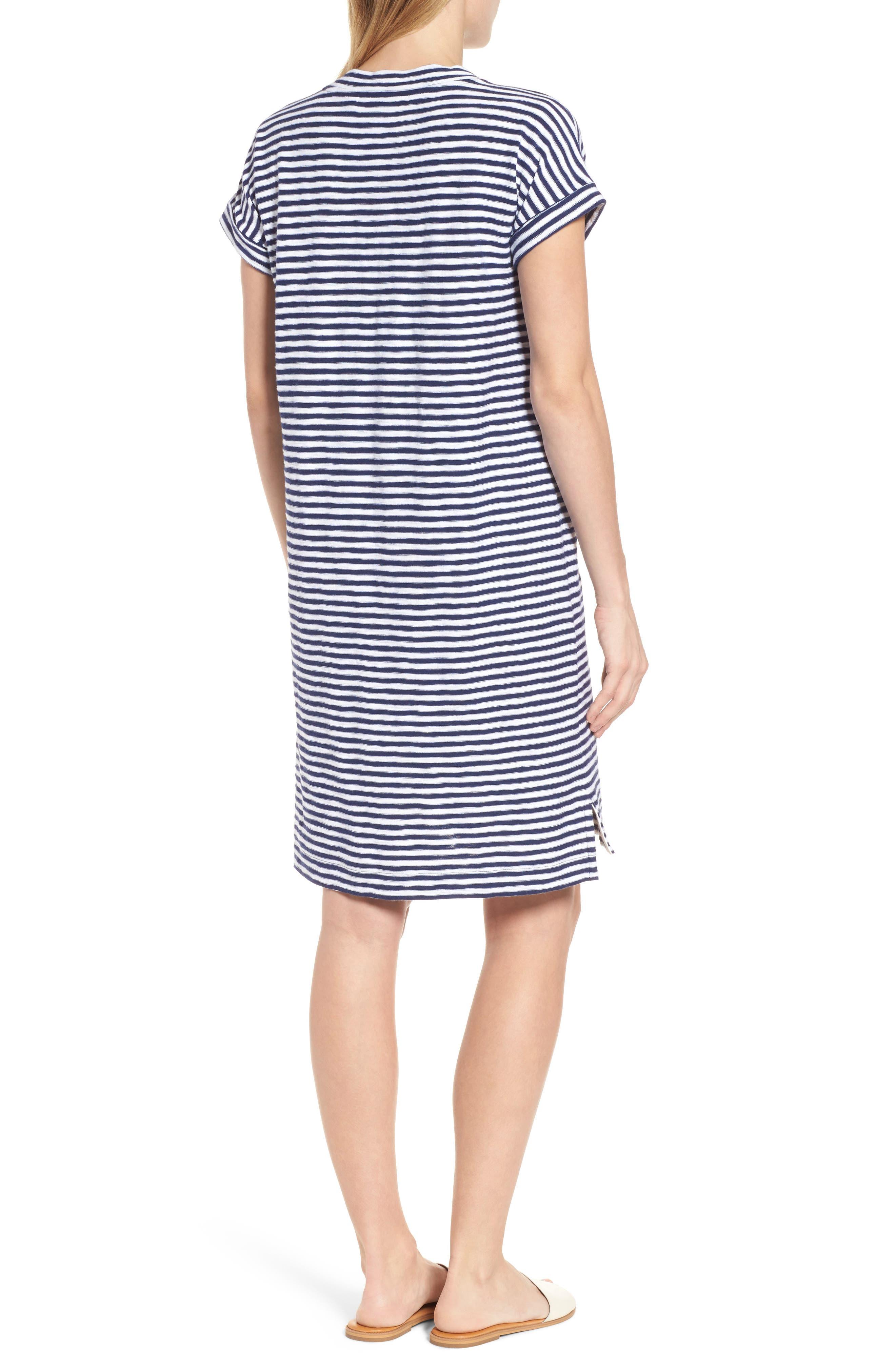 Stripe V-Neck Shirtdress,                             Alternate thumbnail 2, color,                             Deep Bay