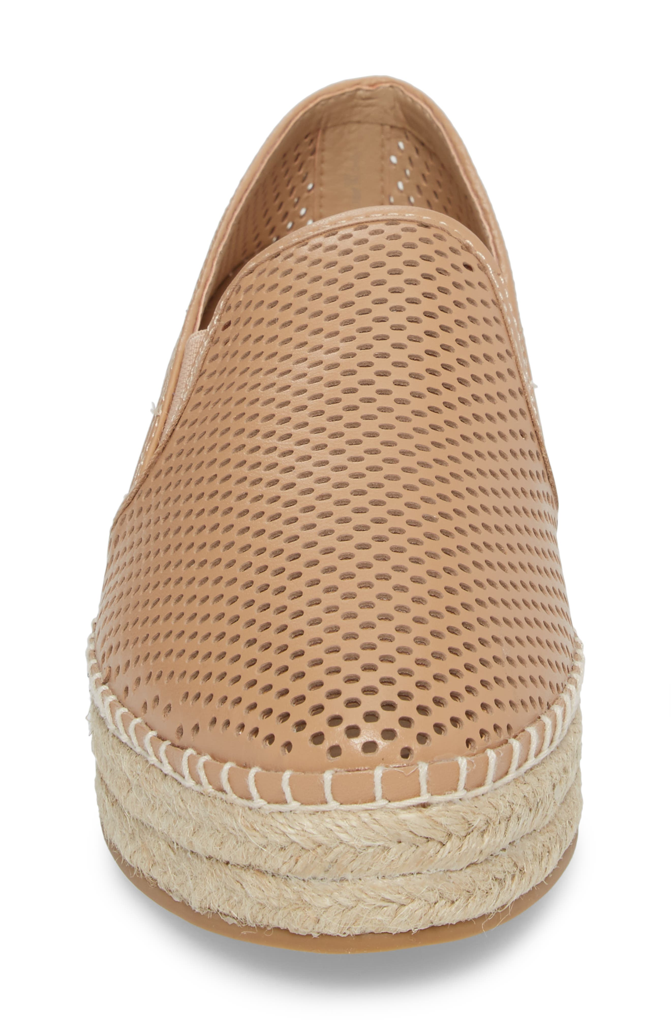 Wright Perforated Platform Espadrille,                             Alternate thumbnail 4, color,                             Natural Leather