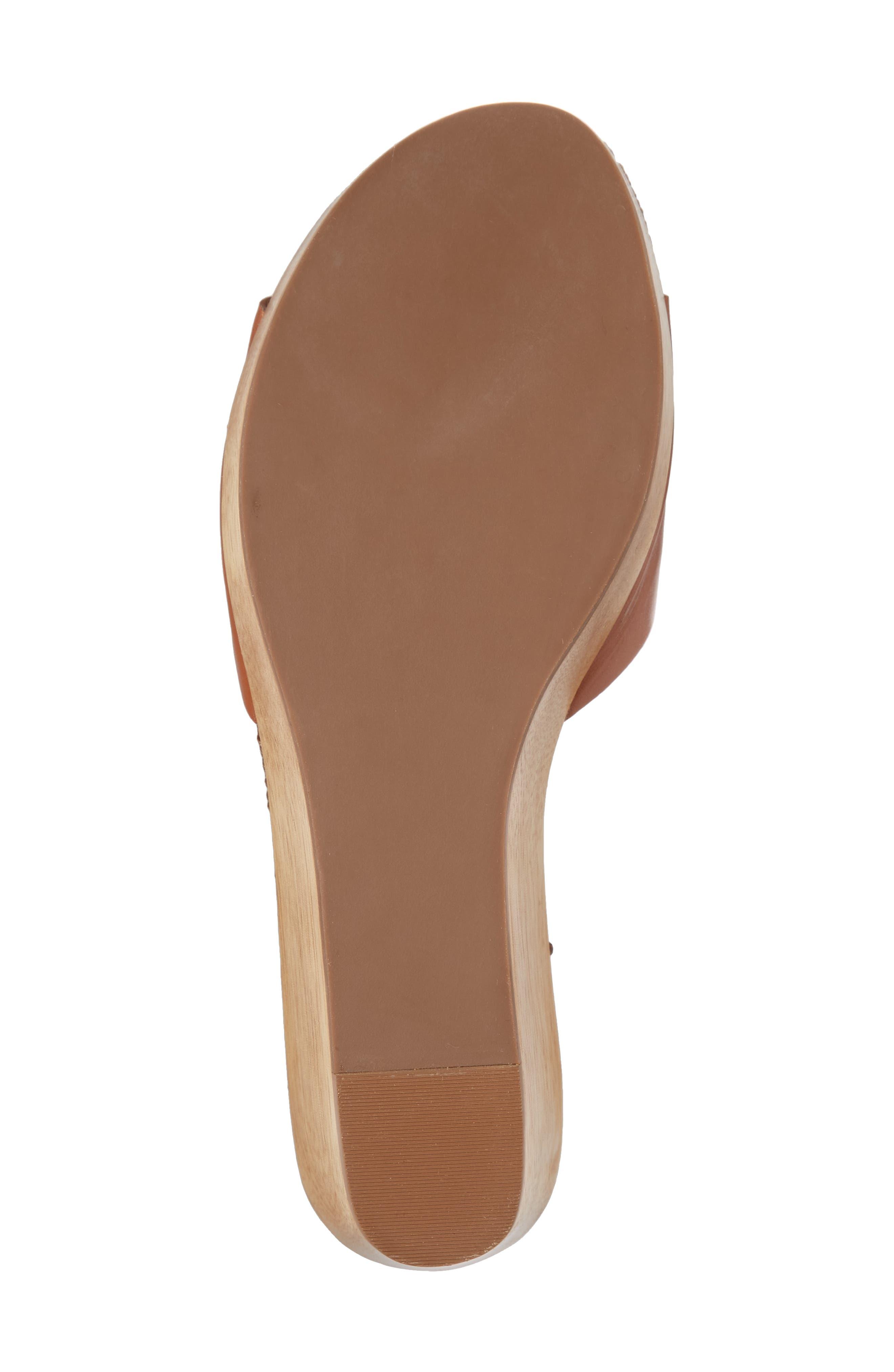 Patty Logo Platform Wedge Sandal,                             Alternate thumbnail 6, color,                             Perfect Cuoio