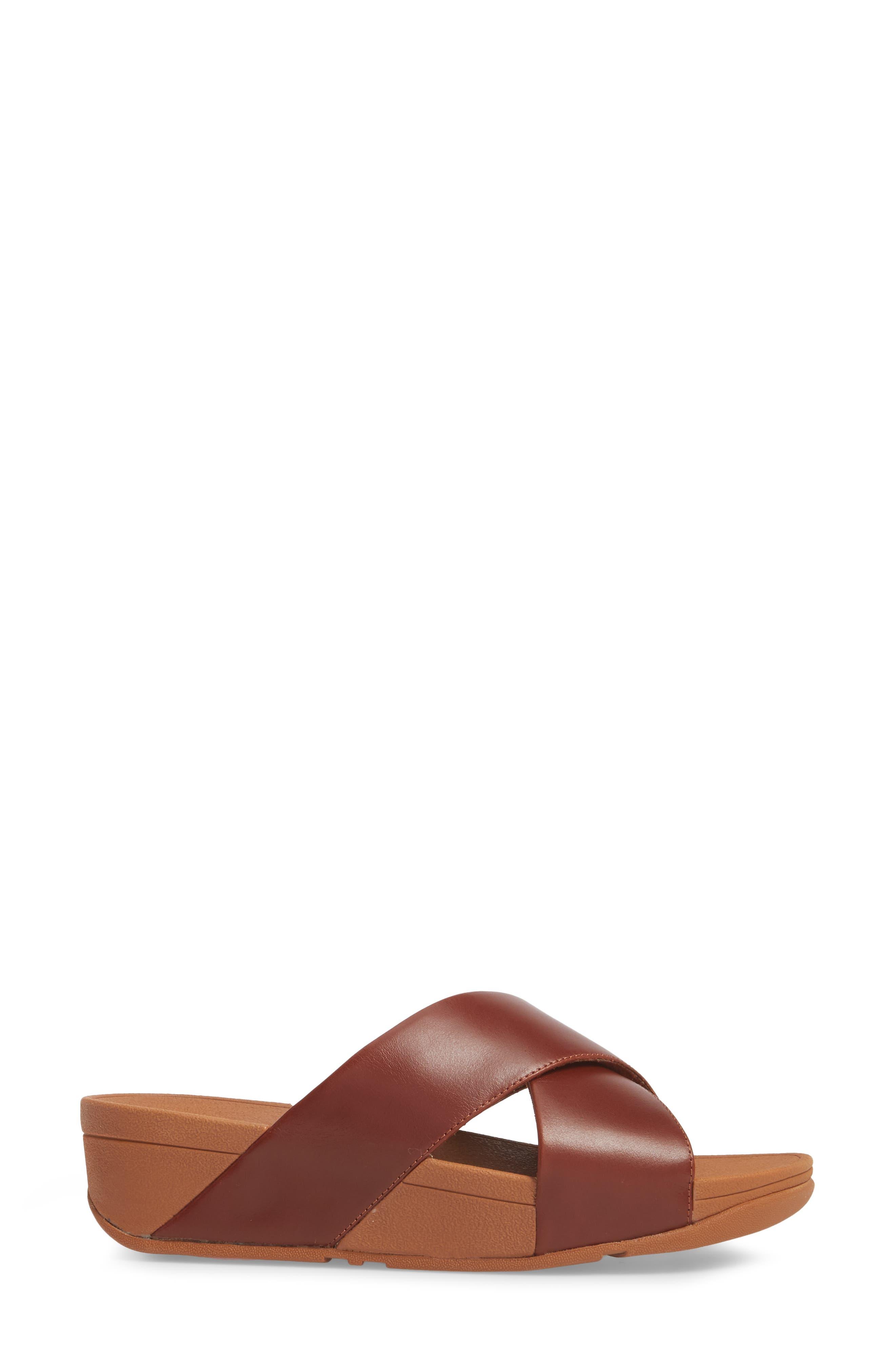 Lulu Cross Slide Sandal,                             Alternate thumbnail 3, color,                             Cognac