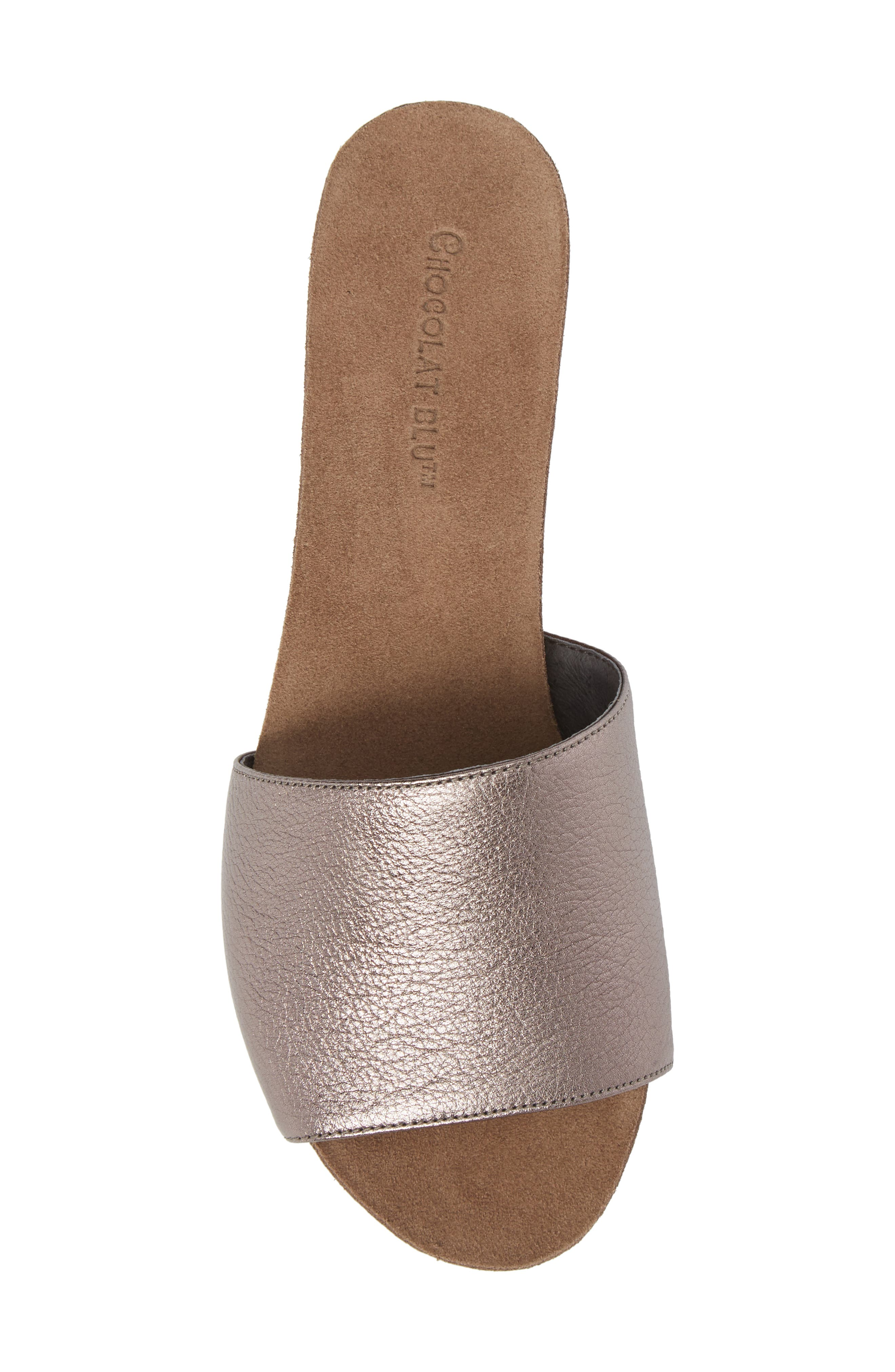 Viveca Slide Sandal,                             Alternate thumbnail 5, color,                             Gunmetal Leather