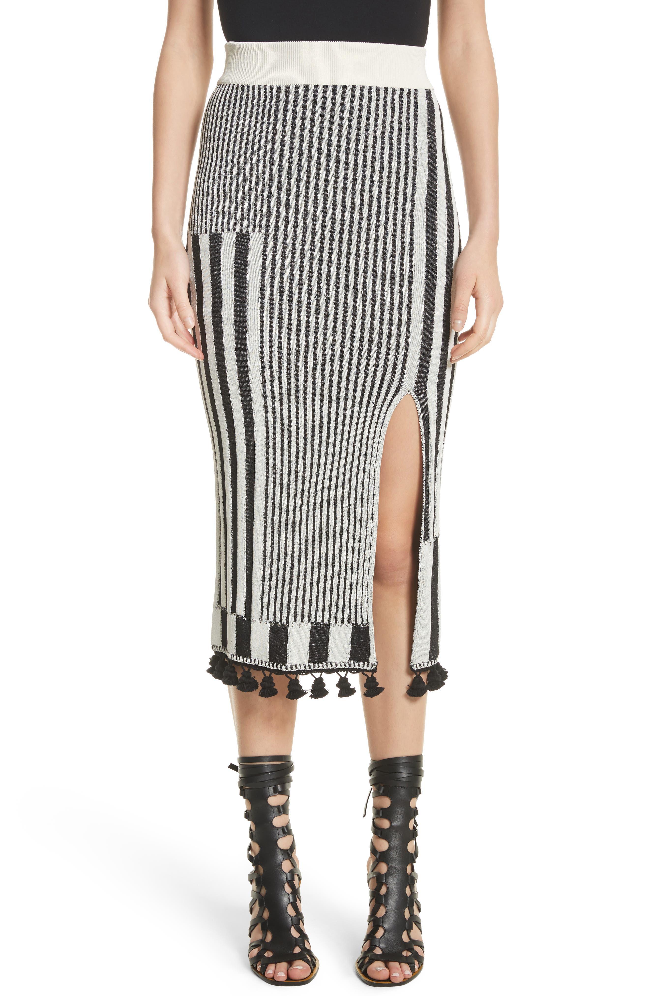 Tassel Trim Stripe Pencil Skirt,                             Main thumbnail 1, color,                             Black