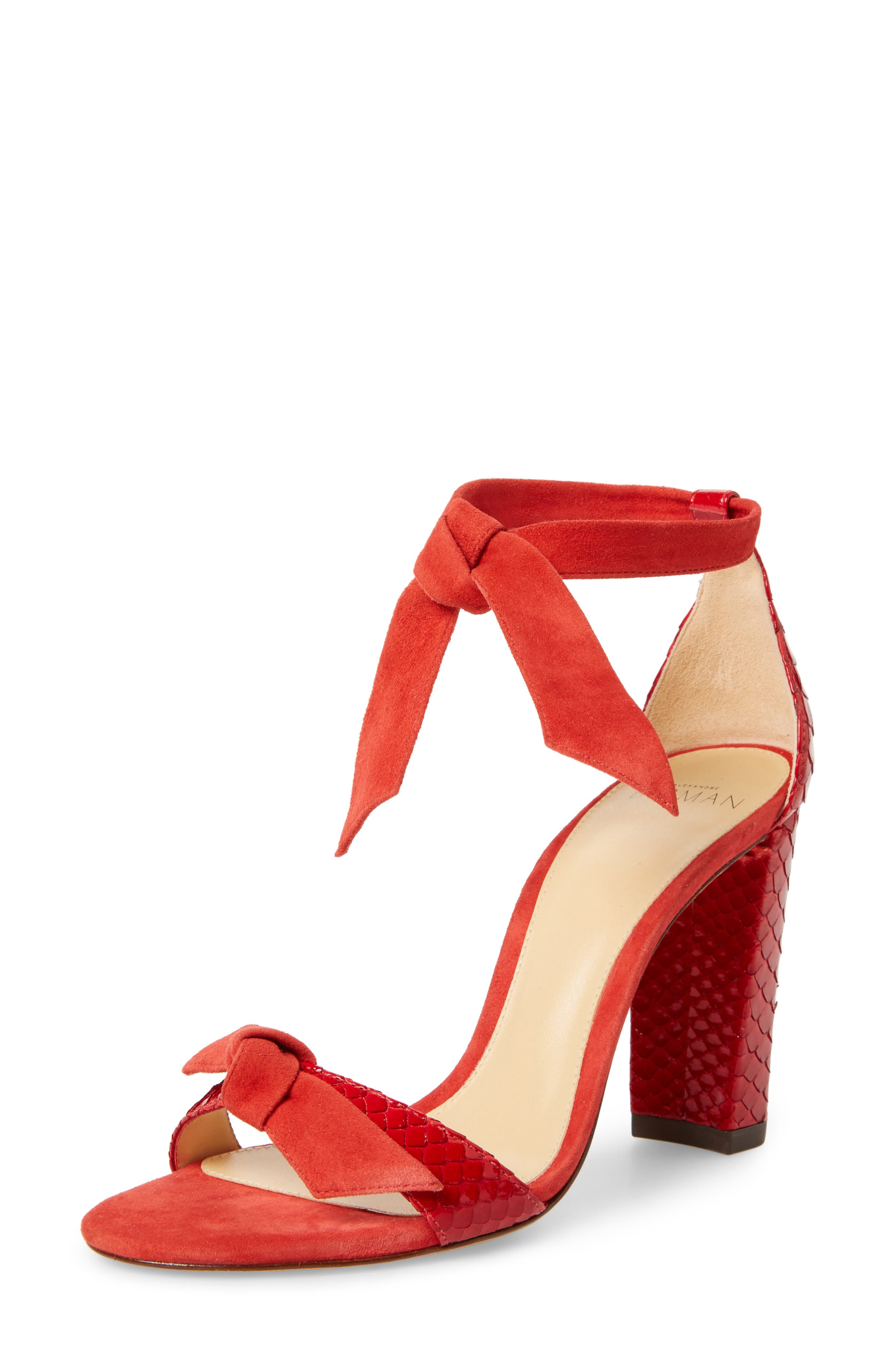 Clarita Genuine Python Ankle Tie Sandal,                         Main,                         color, Flame Red