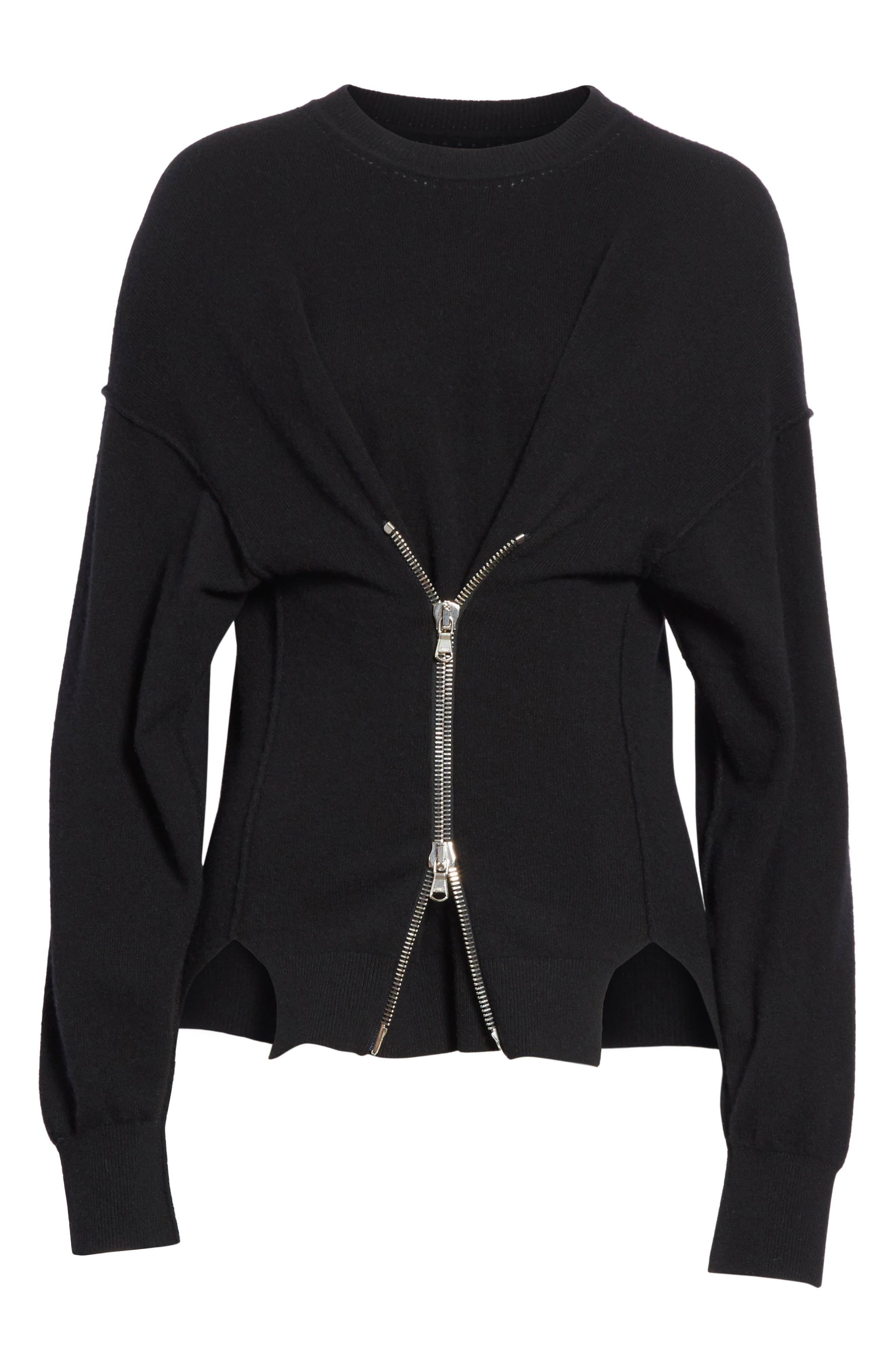Zip Front Wool & Cashmere Blend Sweater,                             Alternate thumbnail 6, color,                             Black
