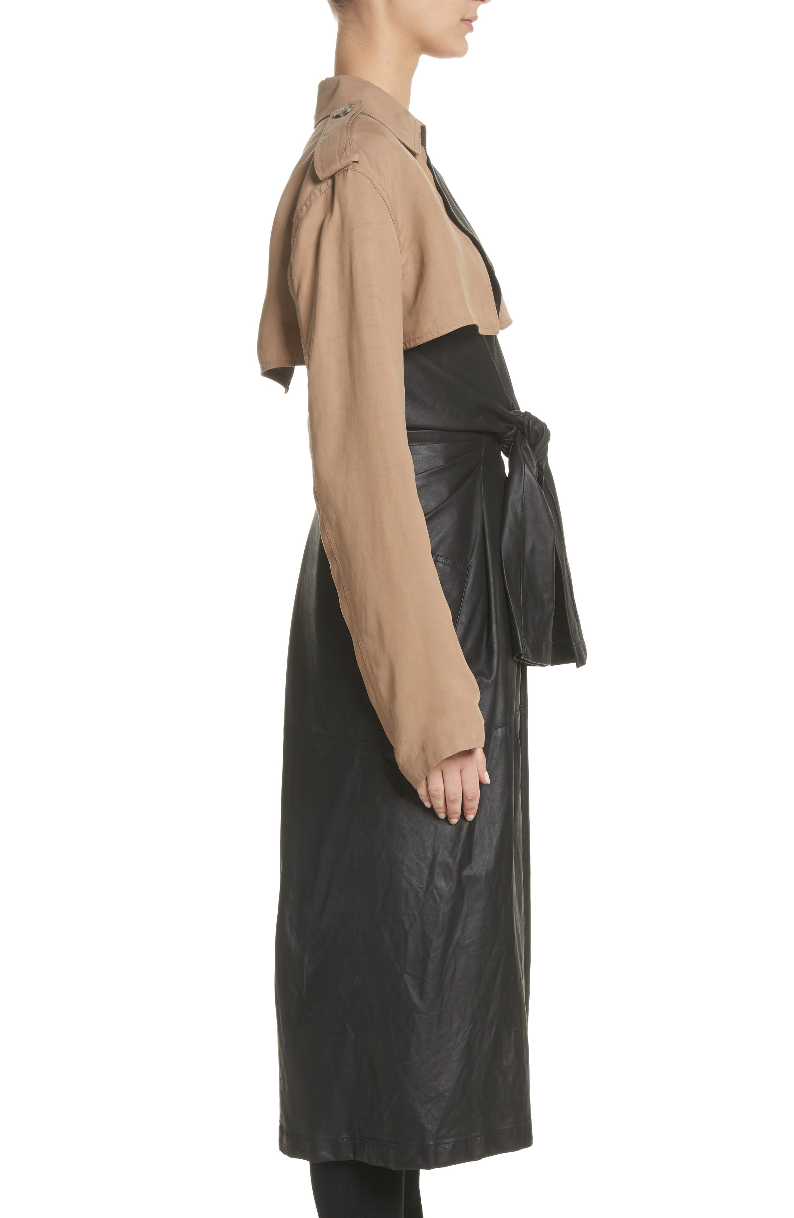 Tie Front Leather & Twill Trench Coat,                             Alternate thumbnail 3, color,                             Black
