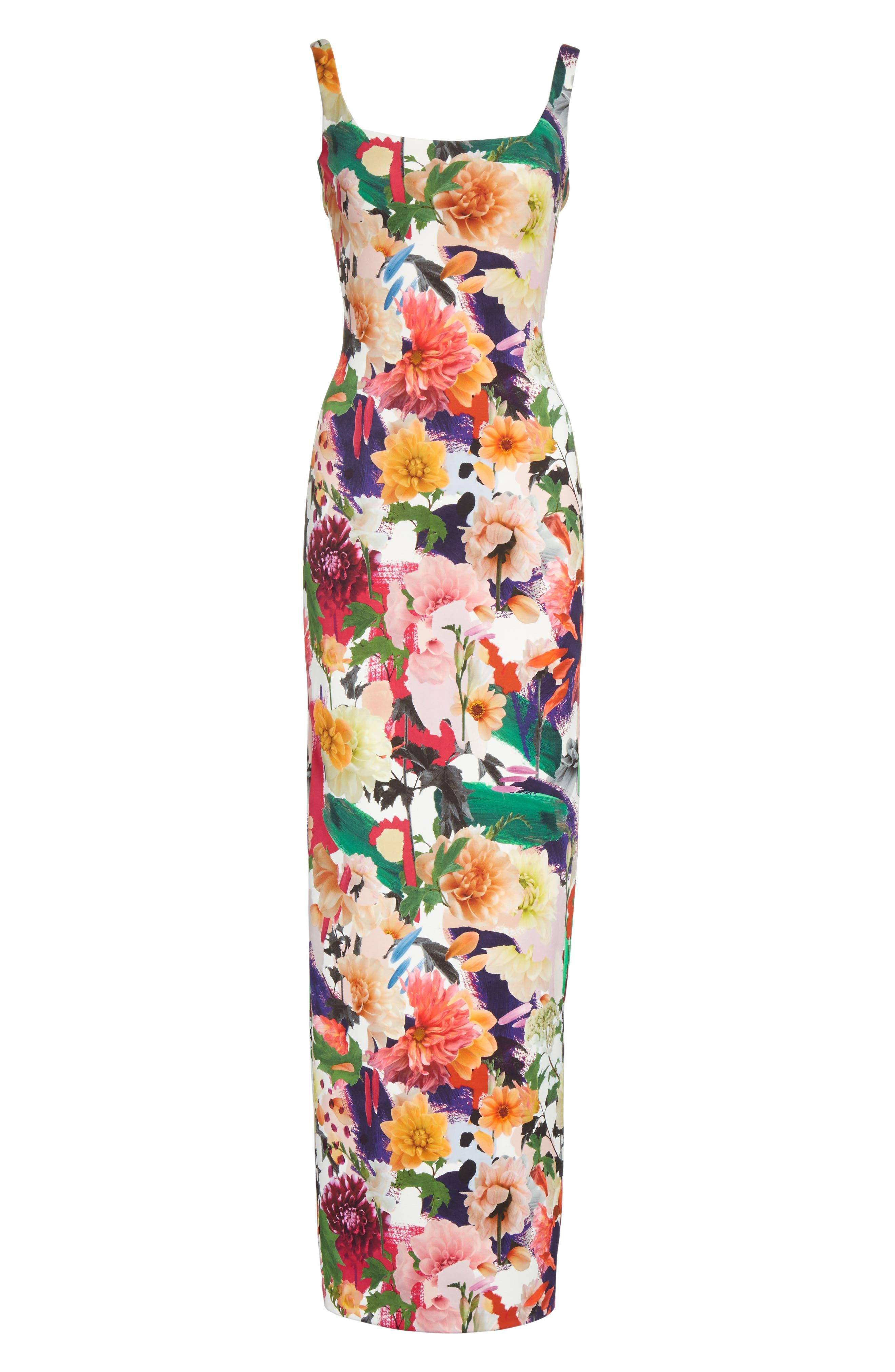 Floral Print Sheath Gown,                             Alternate thumbnail 6, color,                             Surrealist Floral