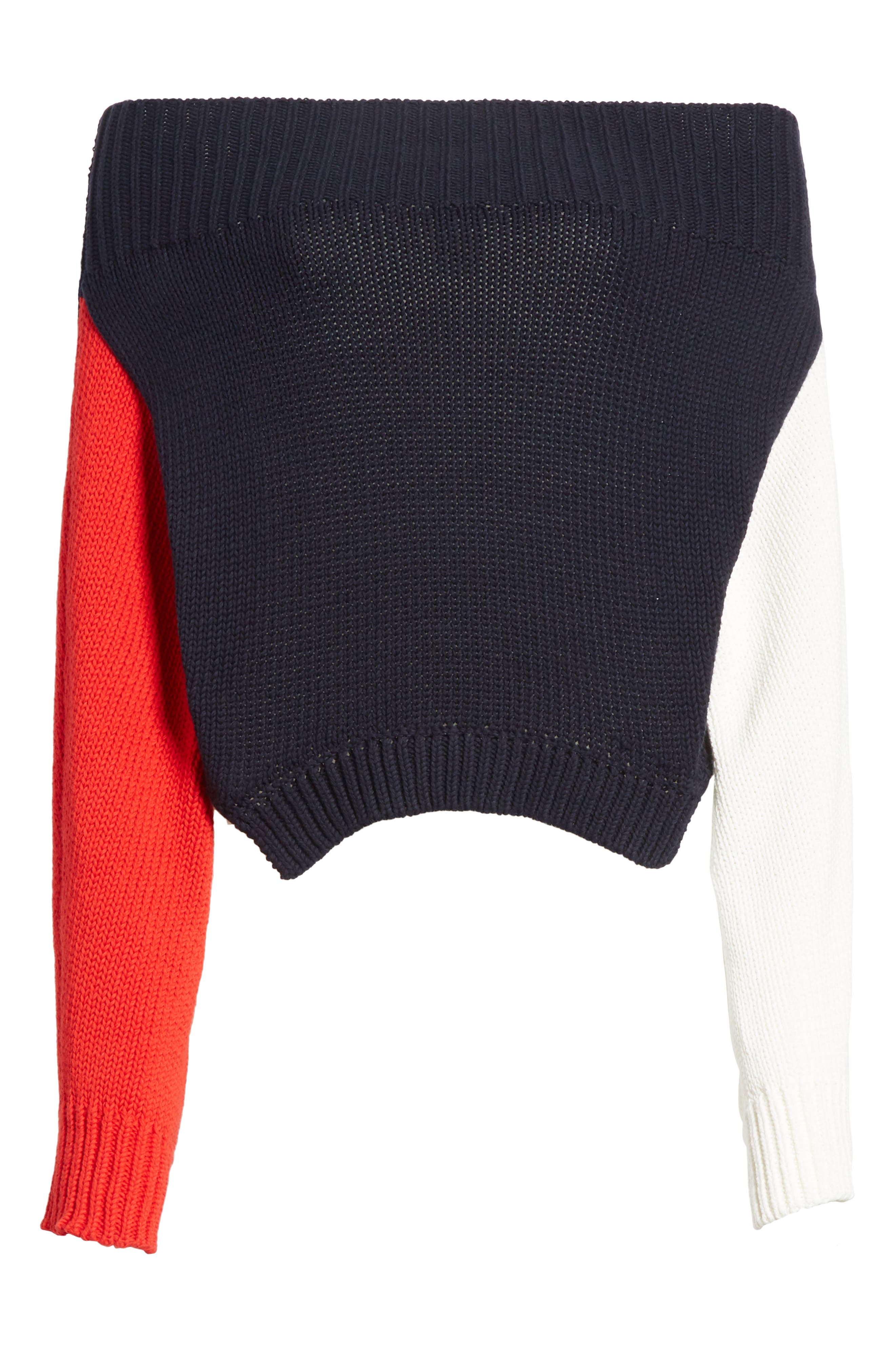 Varsity Upside Down Sweater,                             Alternate thumbnail 6, color,                             Ivory/ Red/ Navy