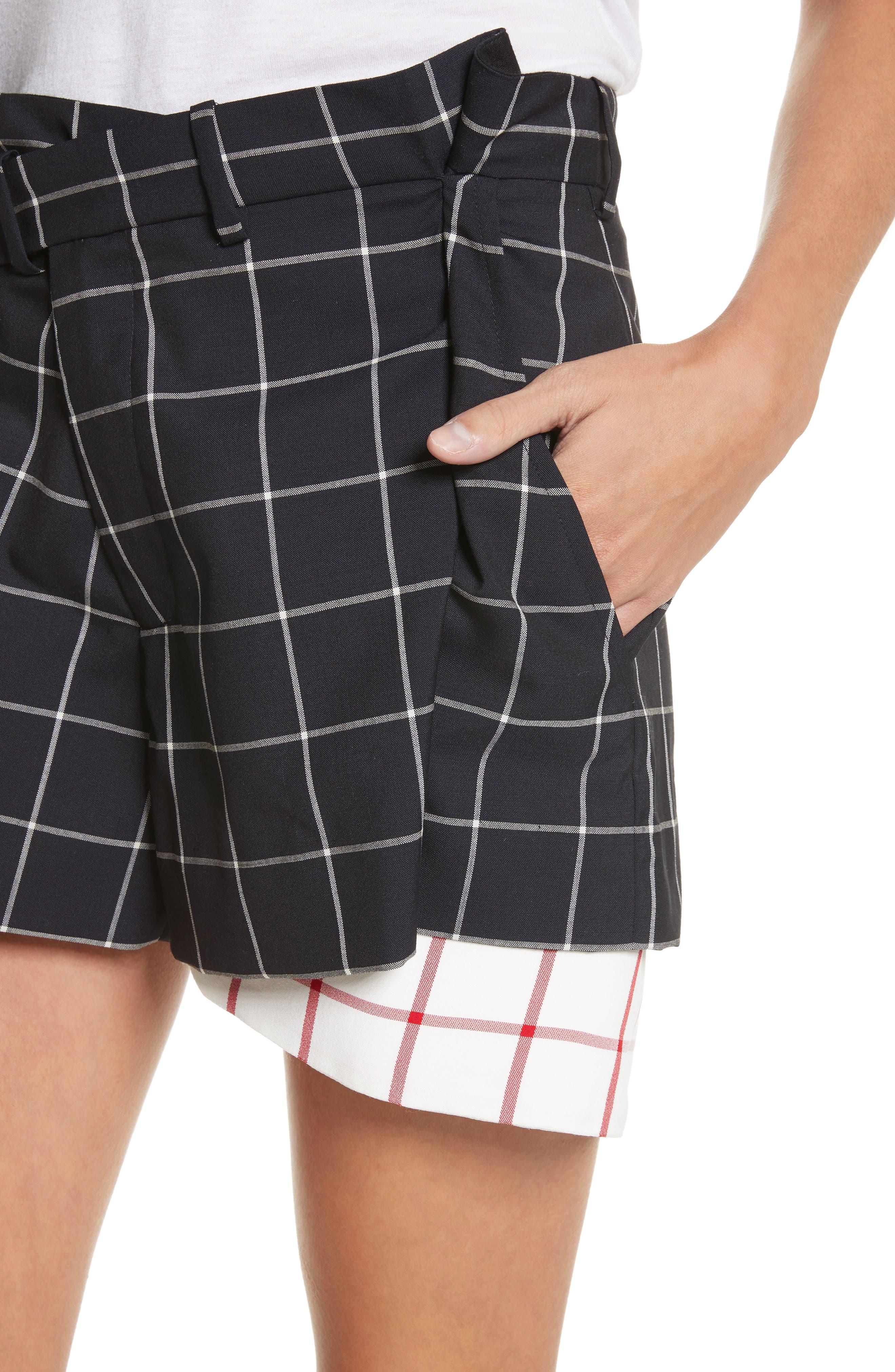 Peekaboo Windowpane Plaid Wool Shorts,                             Alternate thumbnail 4, color,                             Navy/ White
