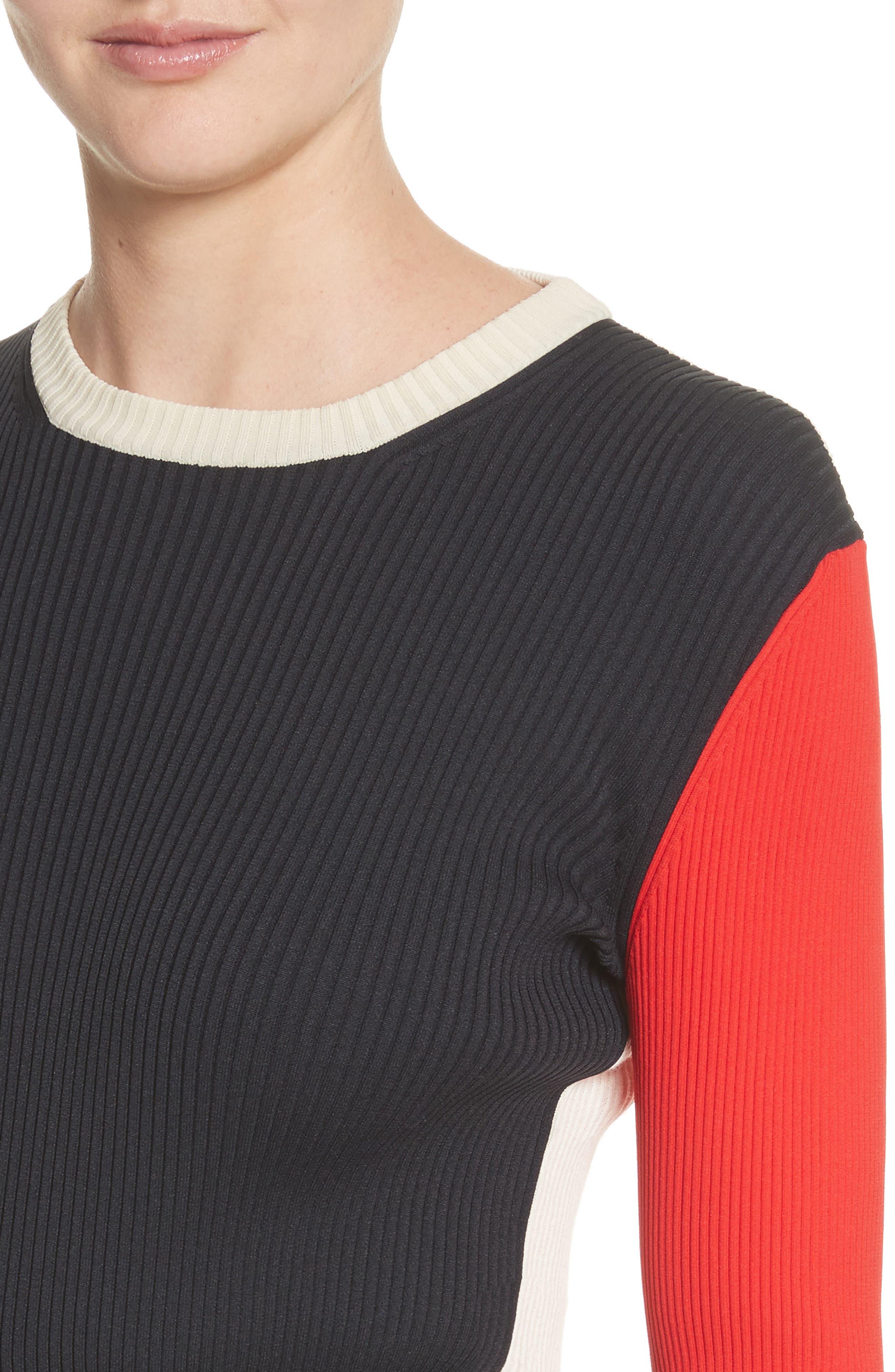 Colorblock Logo Knit Top,                             Alternate thumbnail 6, color,                             Black/ Ecru/ Red