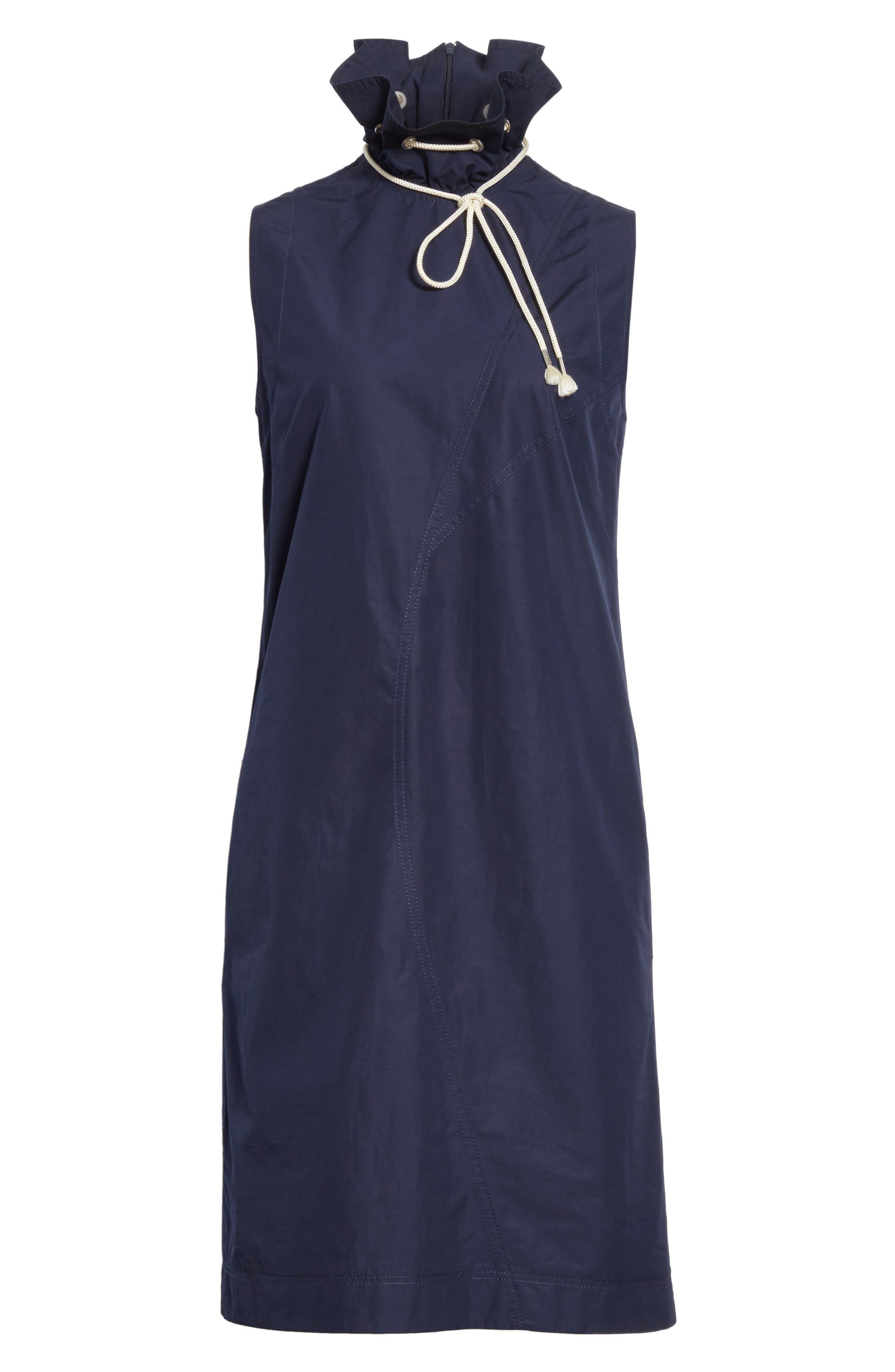 Ruffle Neck Poplin Dress,                             Alternate thumbnail 7, color,                             Marine