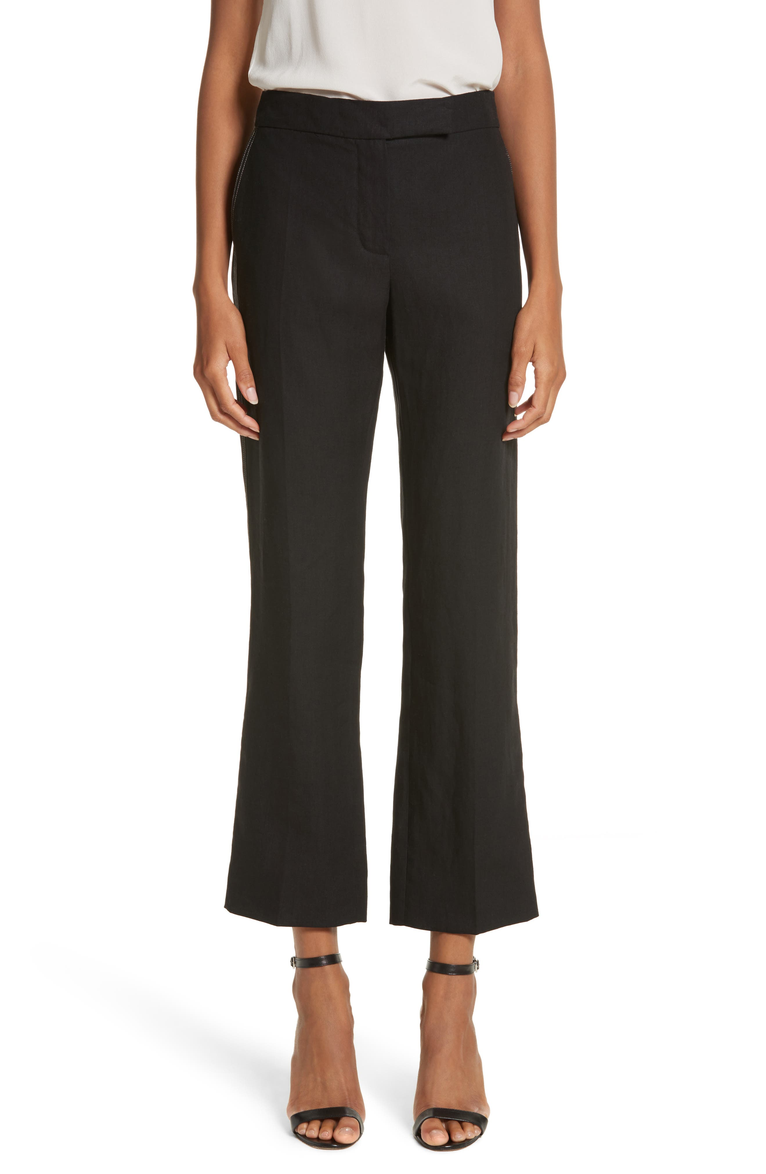 Luigia Linen Crop Flare Pants,                             Main thumbnail 1, color,                             Black