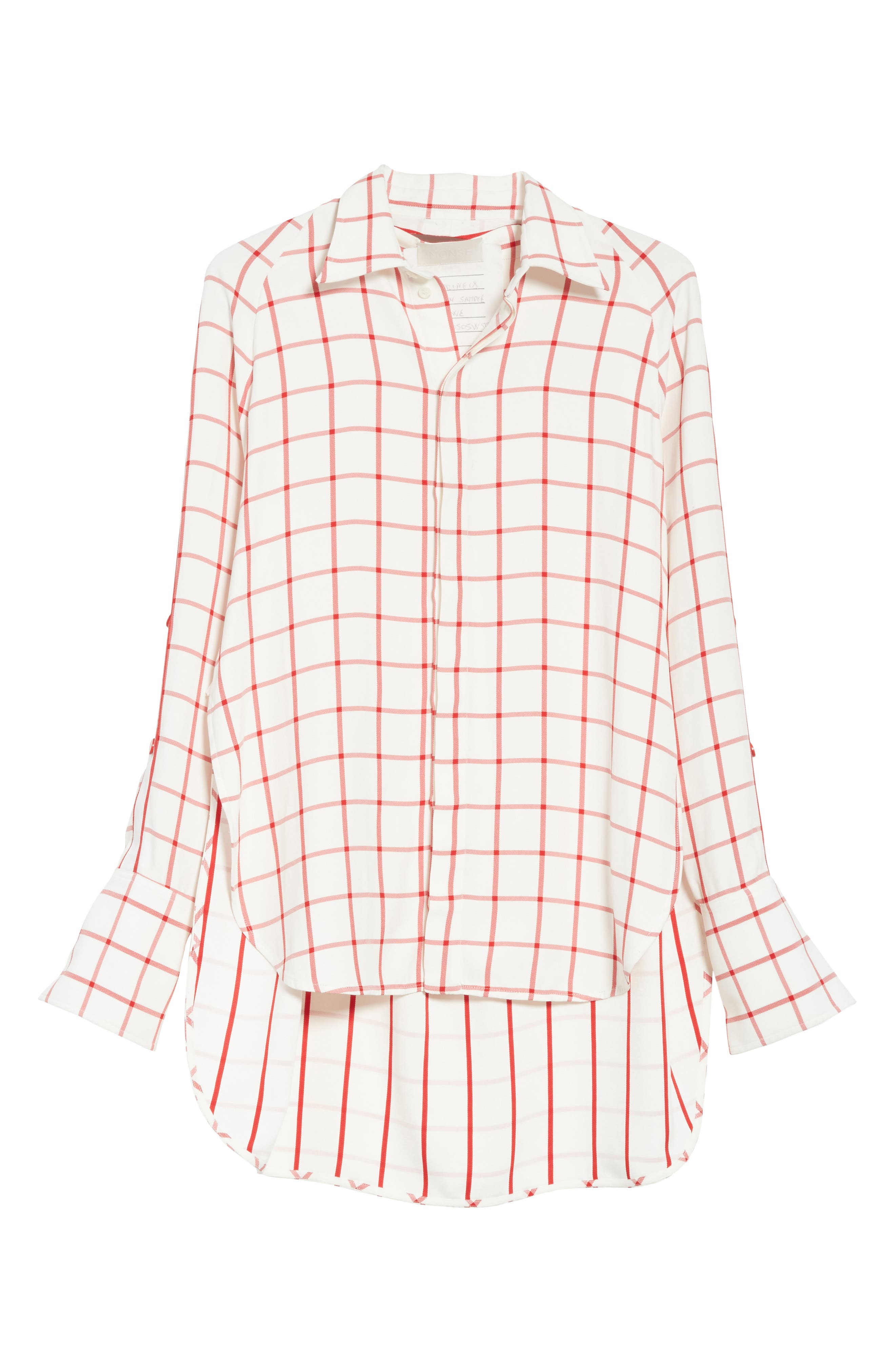 Windowpane Plaid Snap Sleeve Shirt,                             Alternate thumbnail 6, color,                             Ivory/ Red