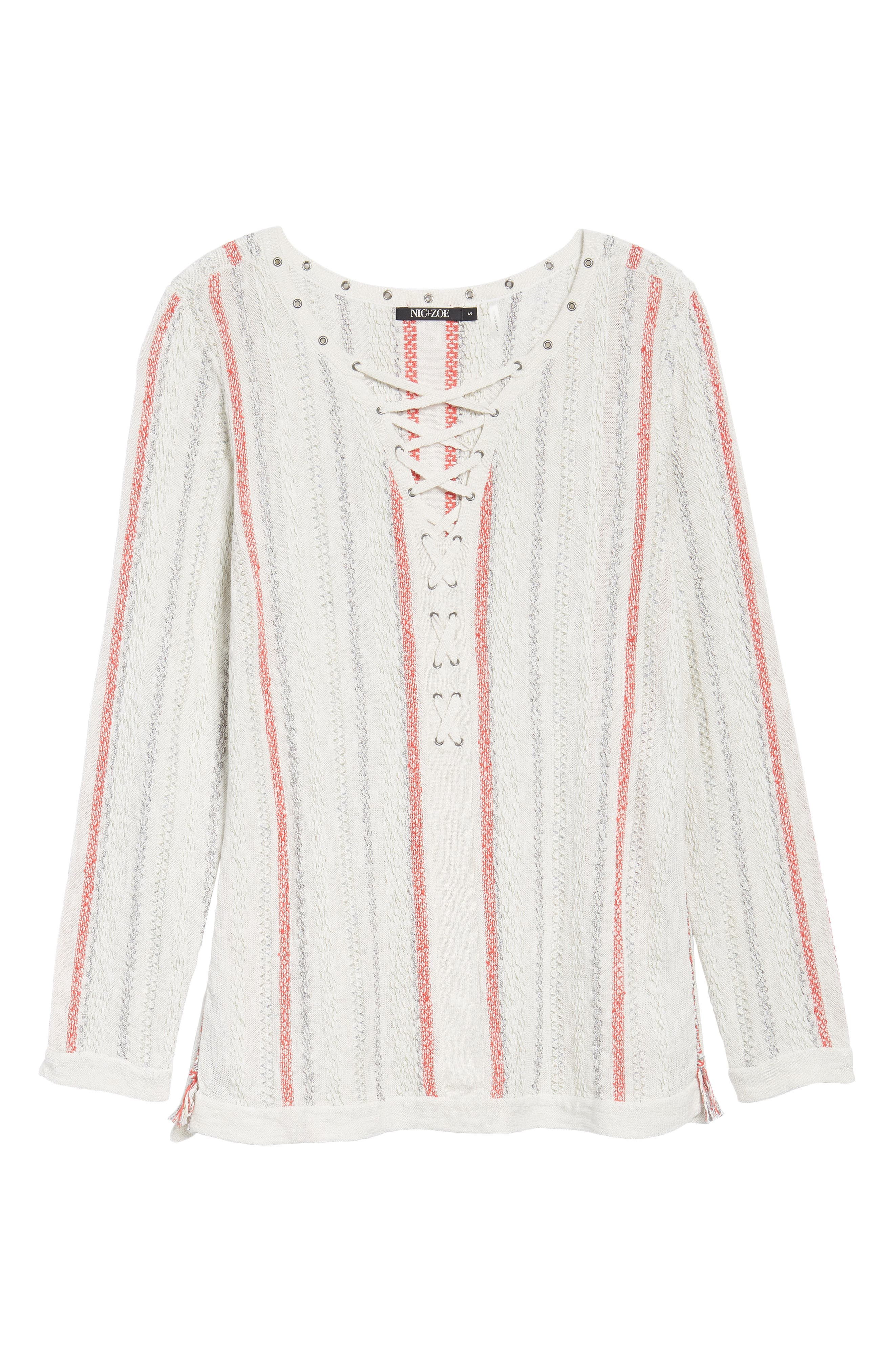 NIC + ZOE Cross Country Lace-Up Top,                             Alternate thumbnail 6, color,                             Multi