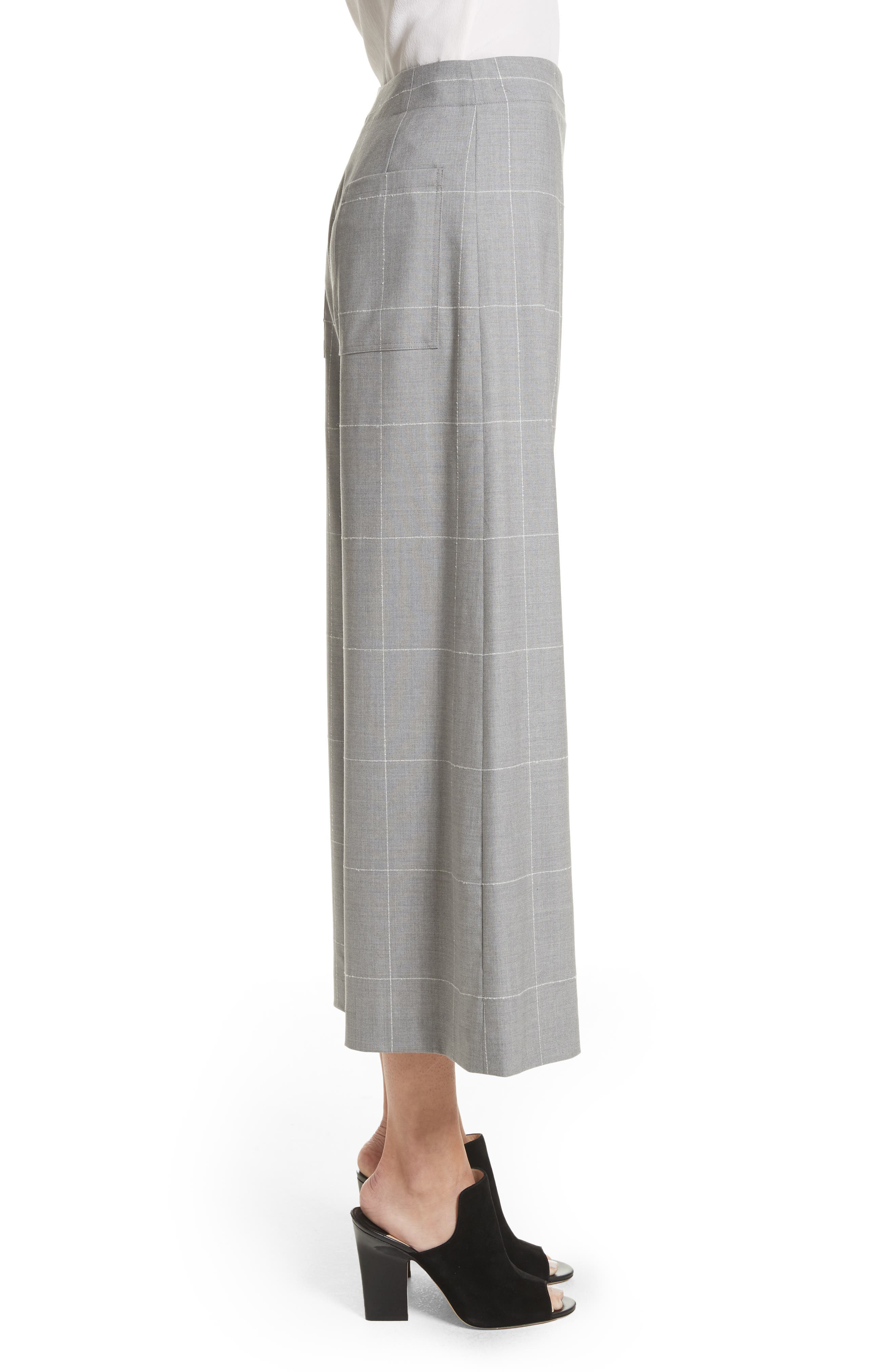 Windowpane Check Wool Wide Leg Crop Pants,                             Alternate thumbnail 3, color,                             Grey/ Ivory