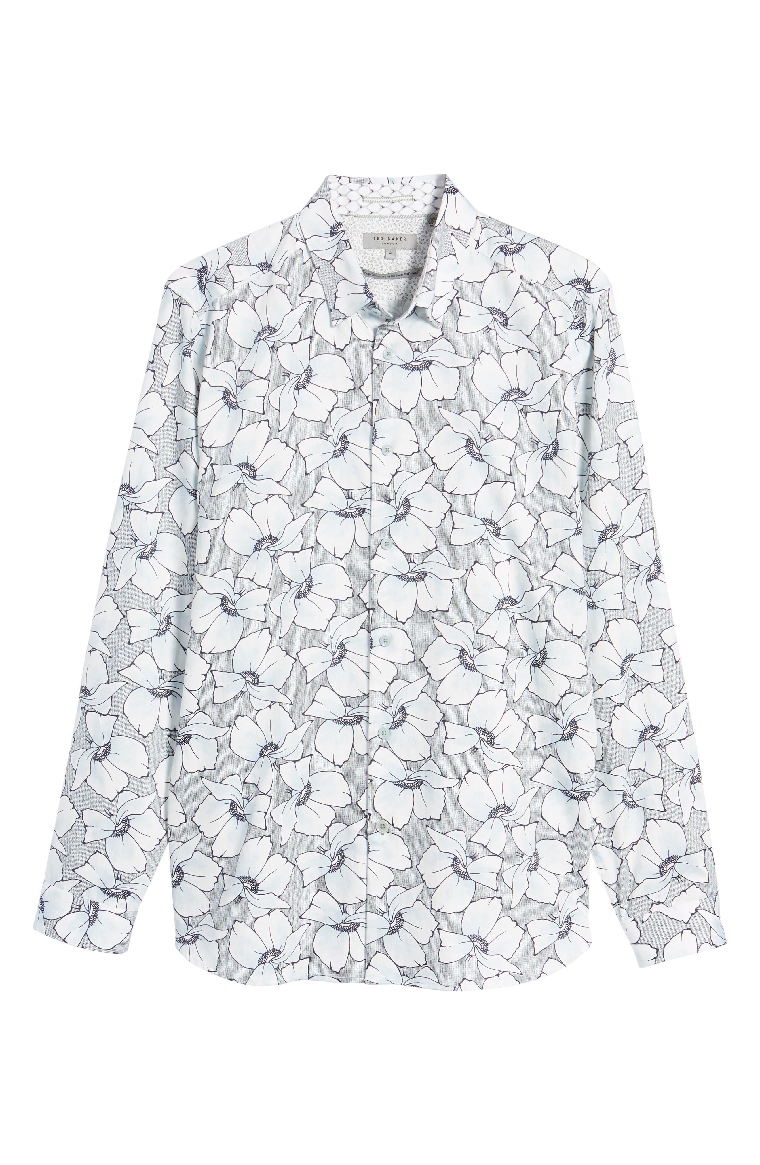 Ligflo Trim Fit Floral Print Sport Shirt,                             Alternate thumbnail 6, color,                             Light Blue