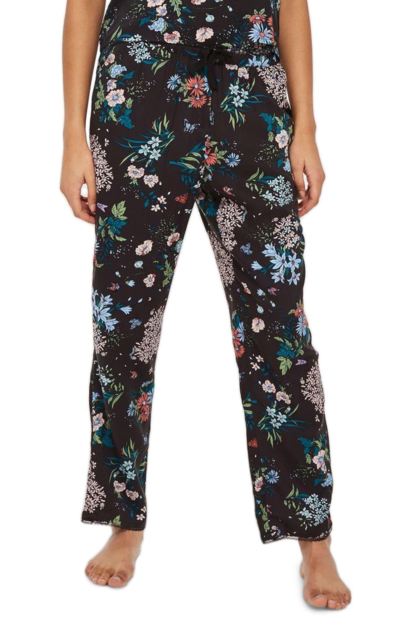 Montana Floral Pajama Pants,                             Main thumbnail 1, color,                             Black Multi