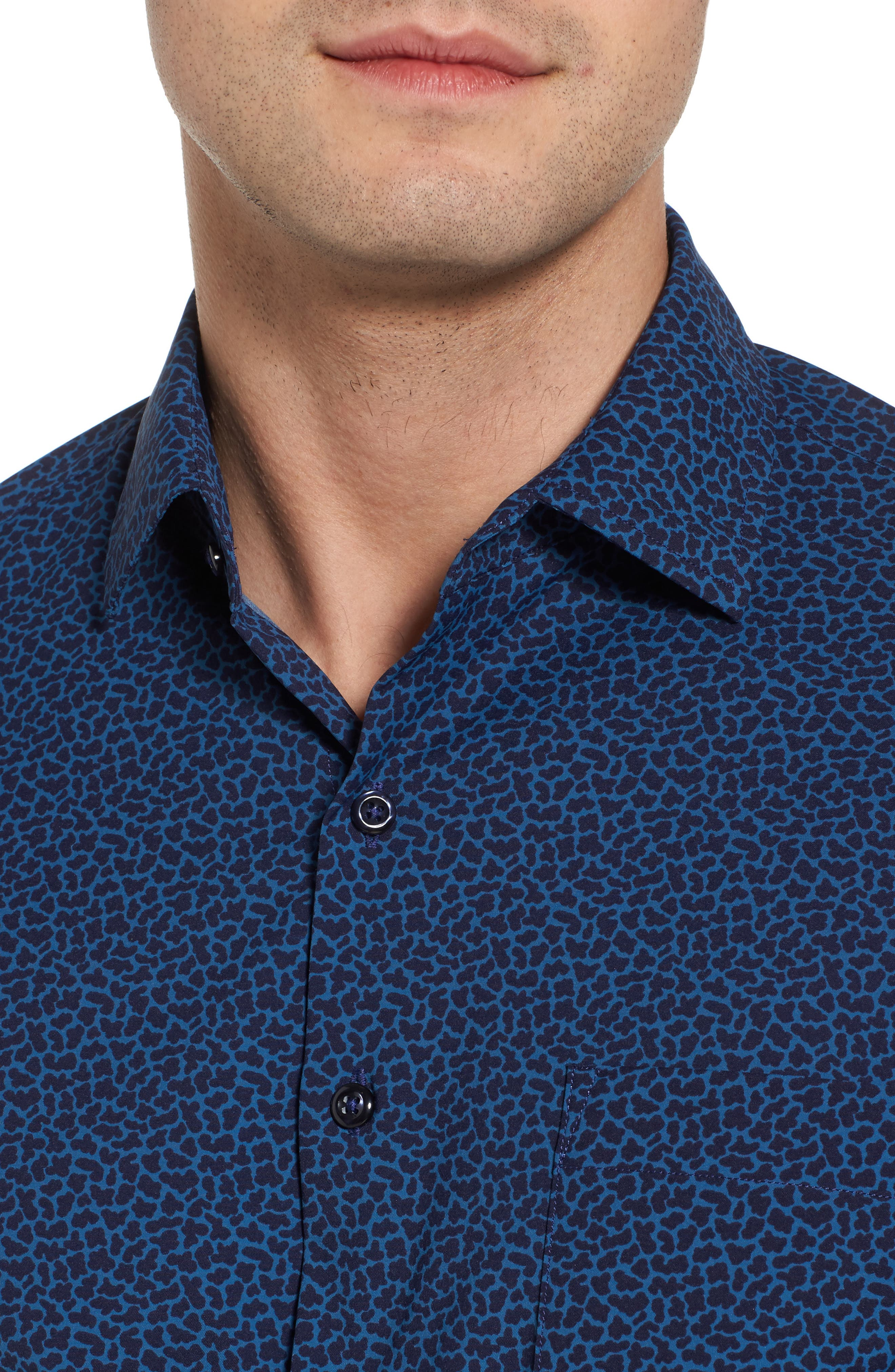 Townson Regular Fit Mini Camo Performance Sport Shirt,                             Alternate thumbnail 4, color,                             Yankee Blue